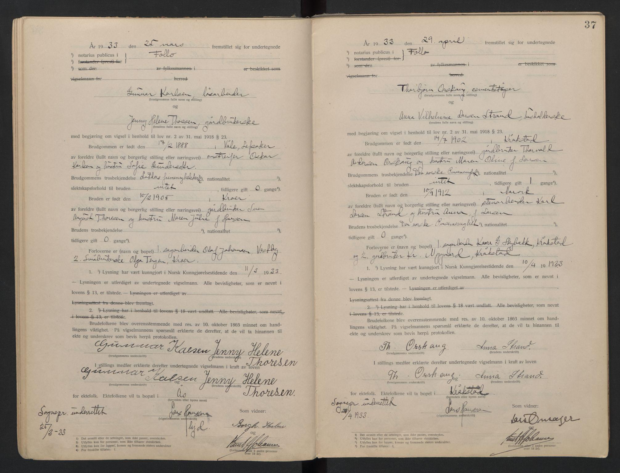 SAO, Follo sorenskriveri, L/La/Lab/L0001: Vigselsbok, 1920-1942, s. 37