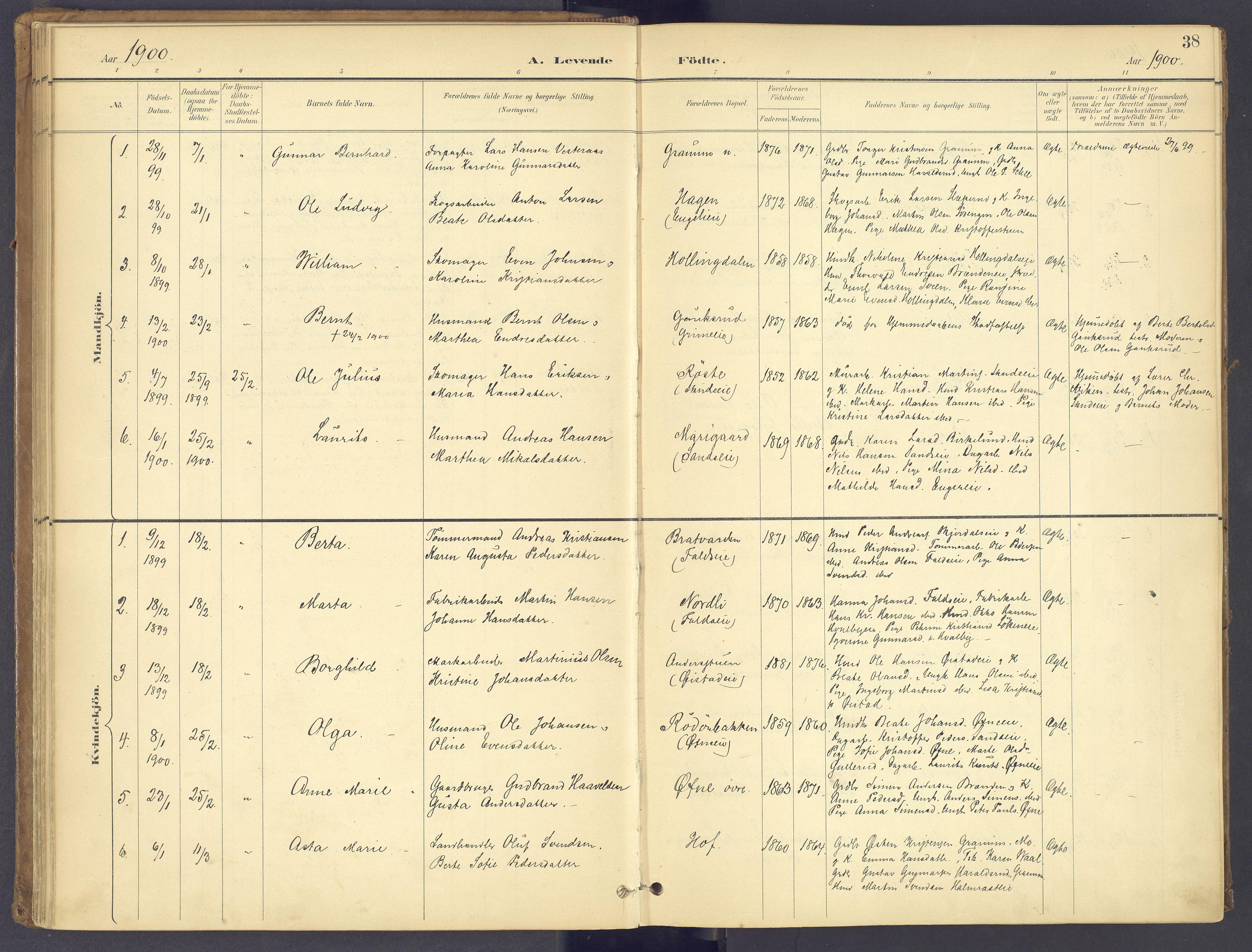 SAH, Søndre Land prestekontor, K/L0006: Ministerialbok nr. 6, 1895-1904, s. 38