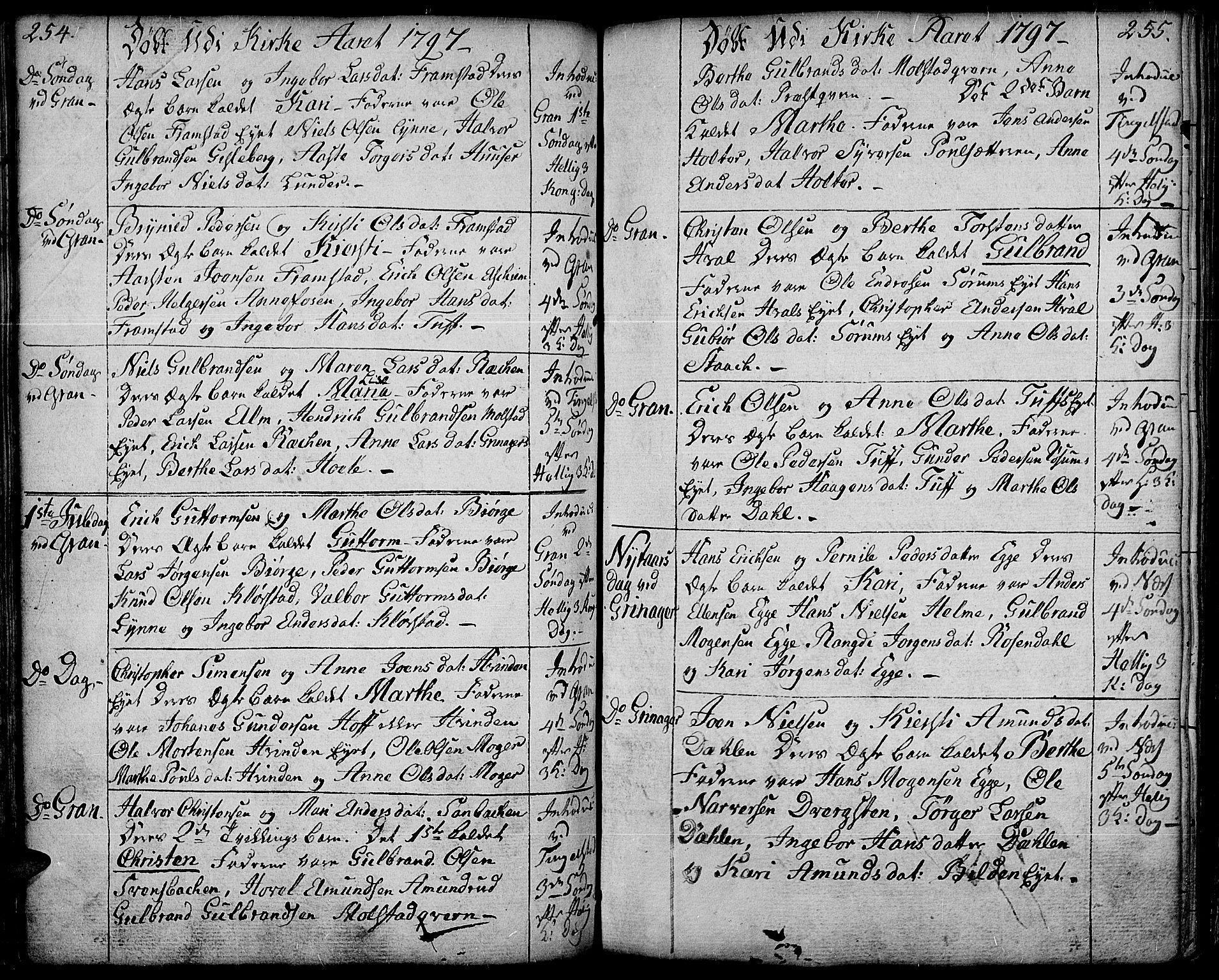 SAH, Gran prestekontor, Ministerialbok nr. 6, 1787-1824, s. 254-255
