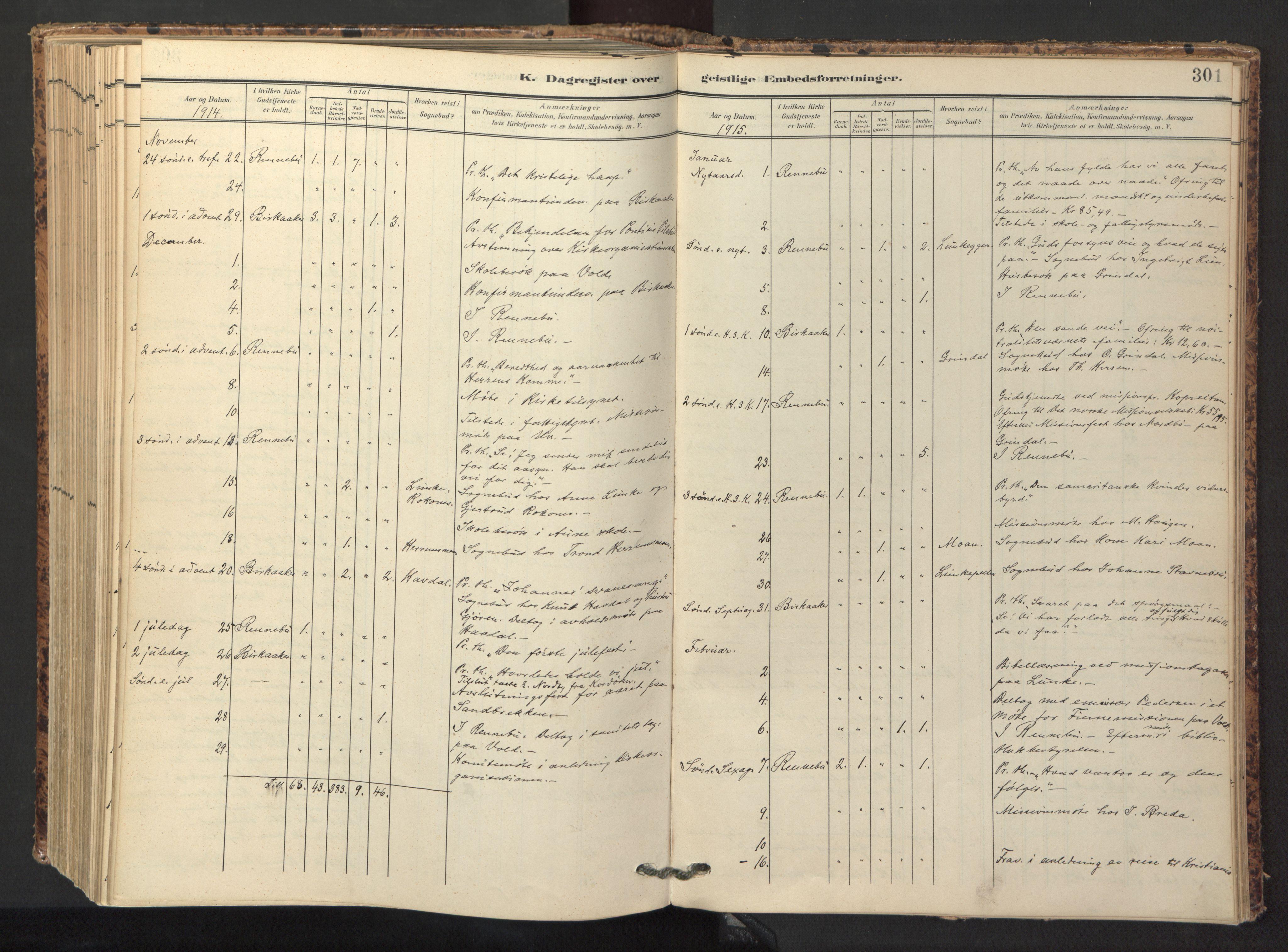 SAT, Ministerialprotokoller, klokkerbøker og fødselsregistre - Sør-Trøndelag, 674/L0873: Ministerialbok nr. 674A05, 1908-1923, s. 301