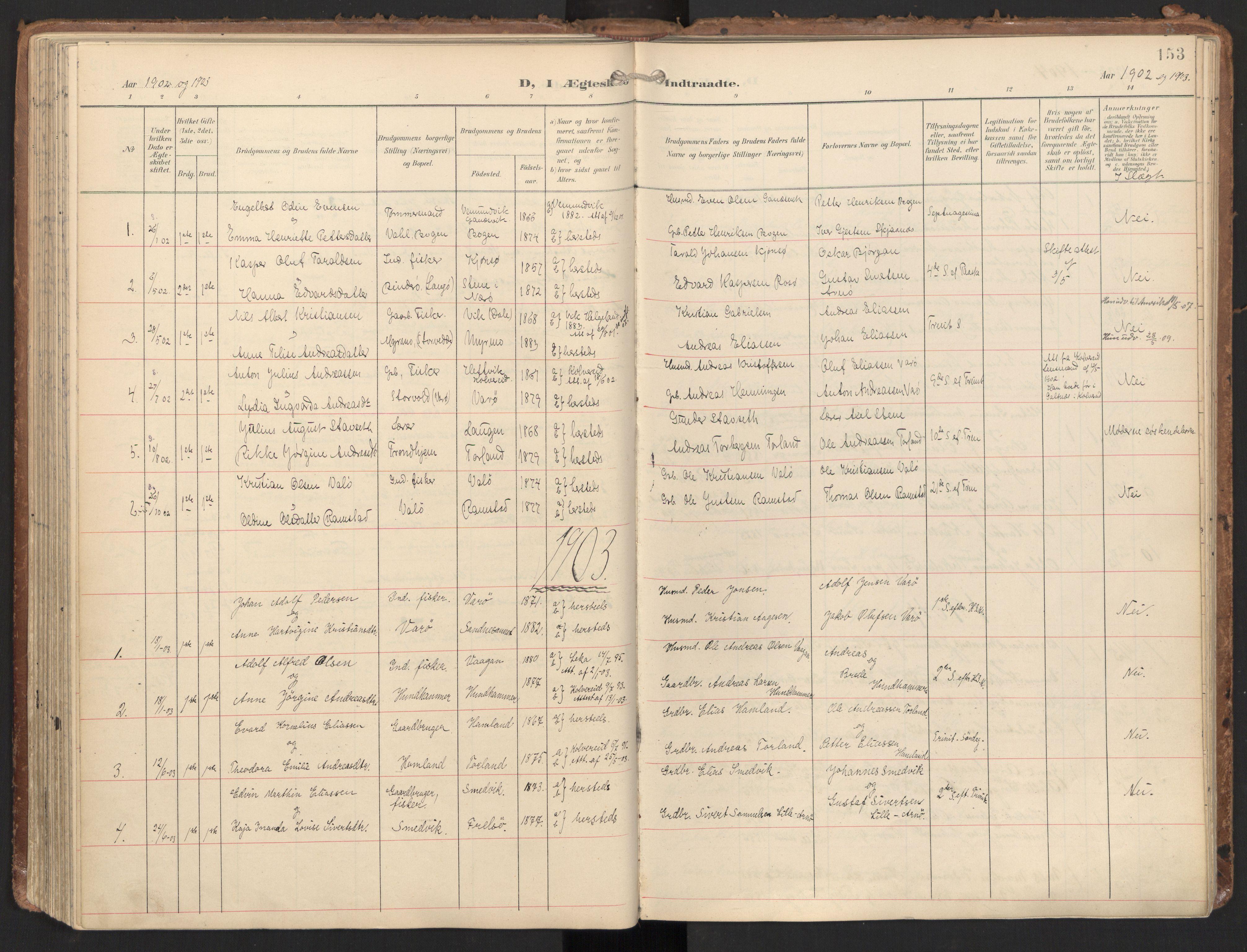 SAT, Ministerialprotokoller, klokkerbøker og fødselsregistre - Nord-Trøndelag, 784/L0677: Ministerialbok nr. 784A12, 1900-1920, s. 153