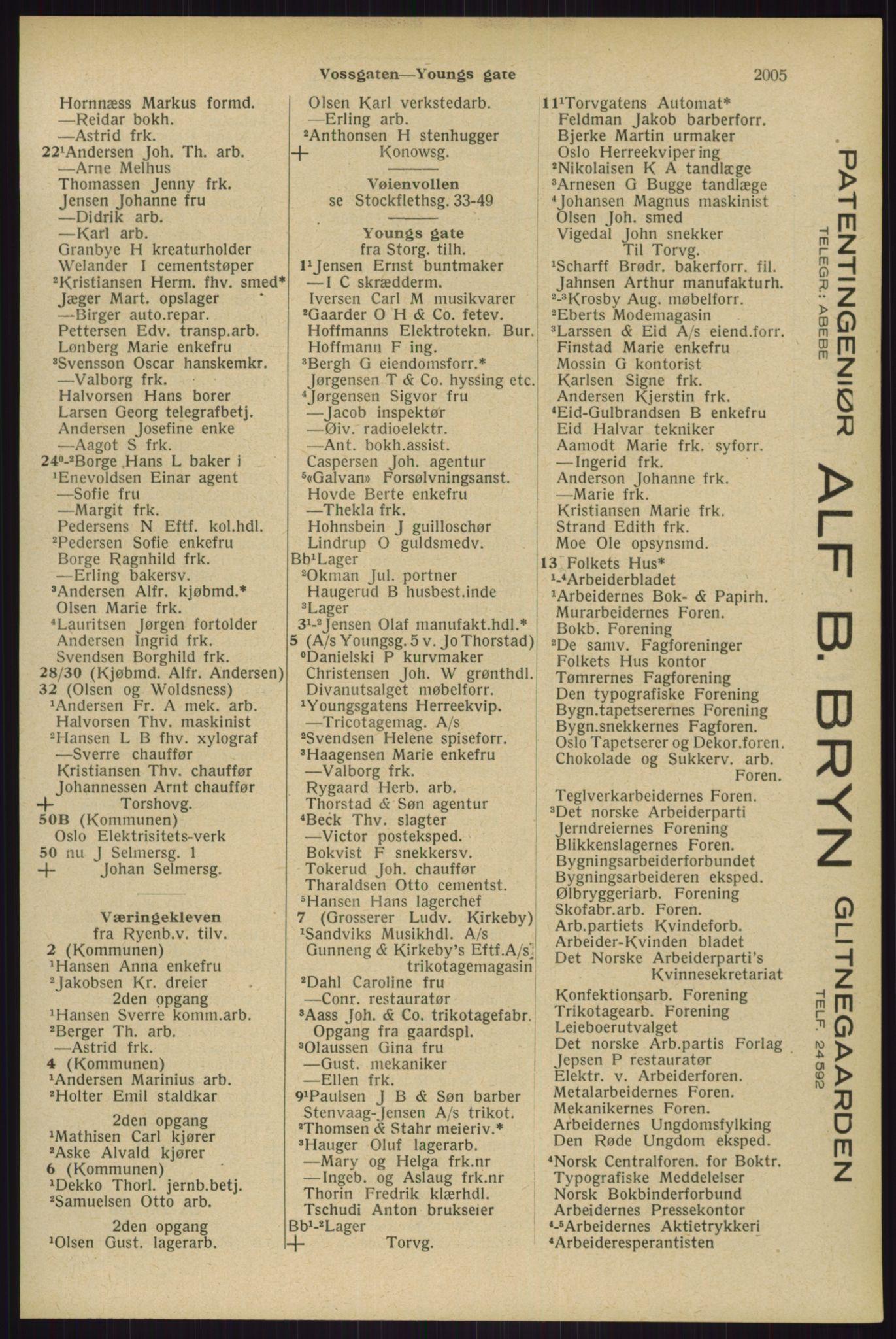 RA, Oslo adressebok (publikasjon)*, 1929, s. 2005
