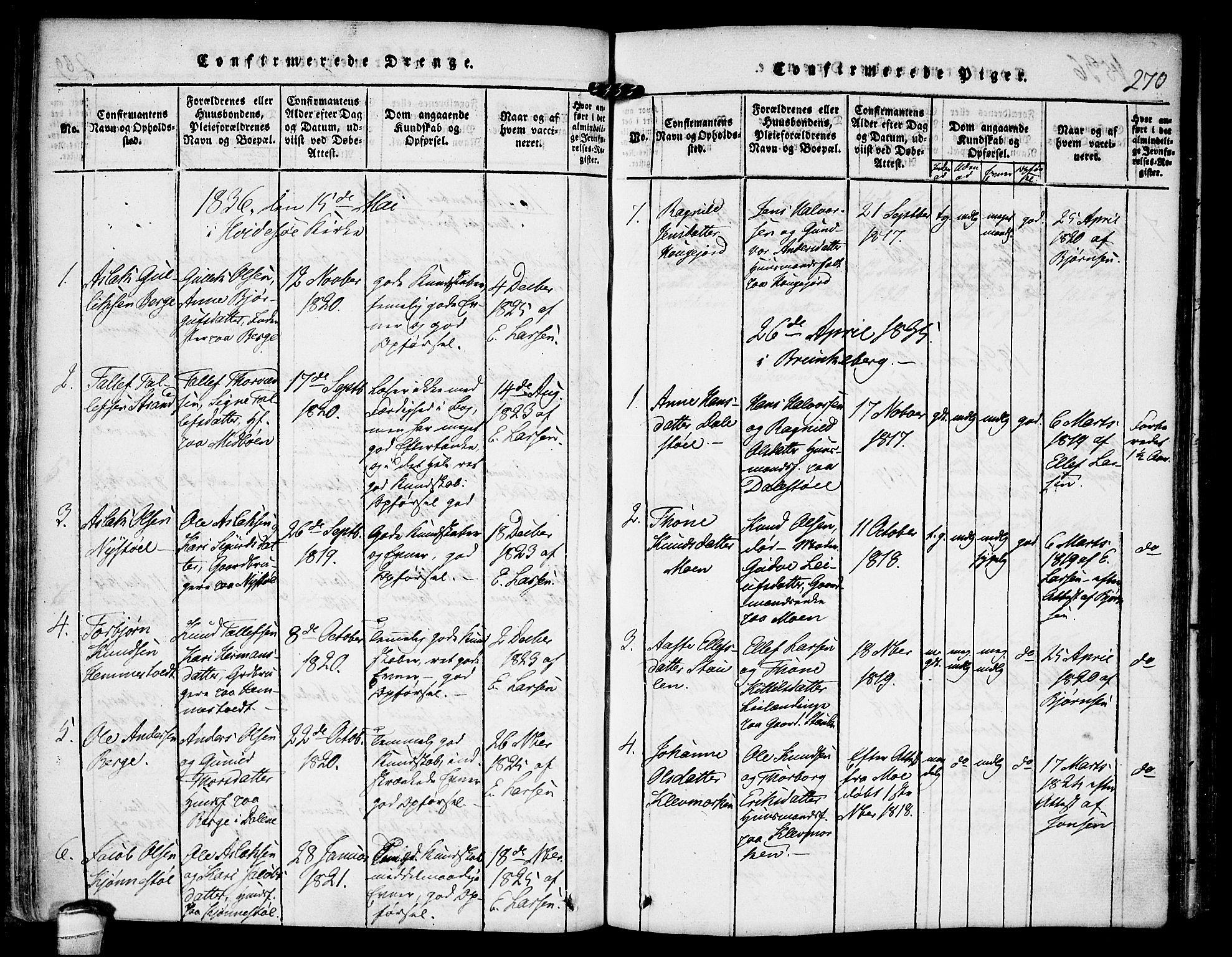 SAKO, Kviteseid kirkebøker, F/Fb/L0001: Ministerialbok nr. II 1, 1815-1836, s. 270