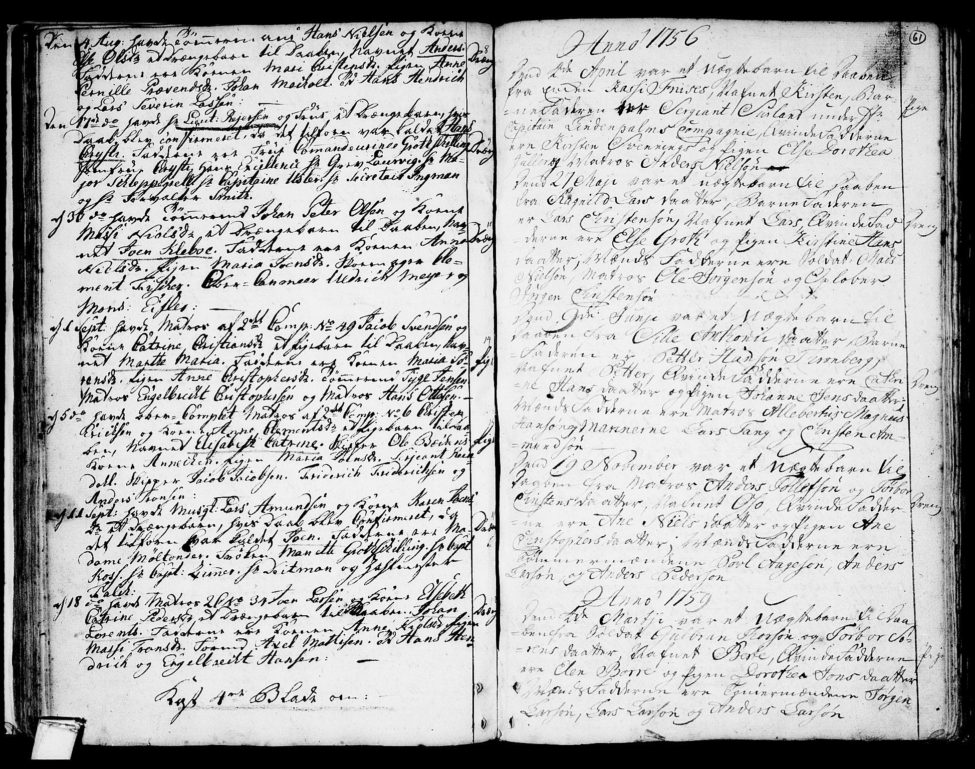 SAKO, Stavern kirkebøker, F/Fa/L0001: Ministerialbok nr. 1, 1756-1782, s. 61
