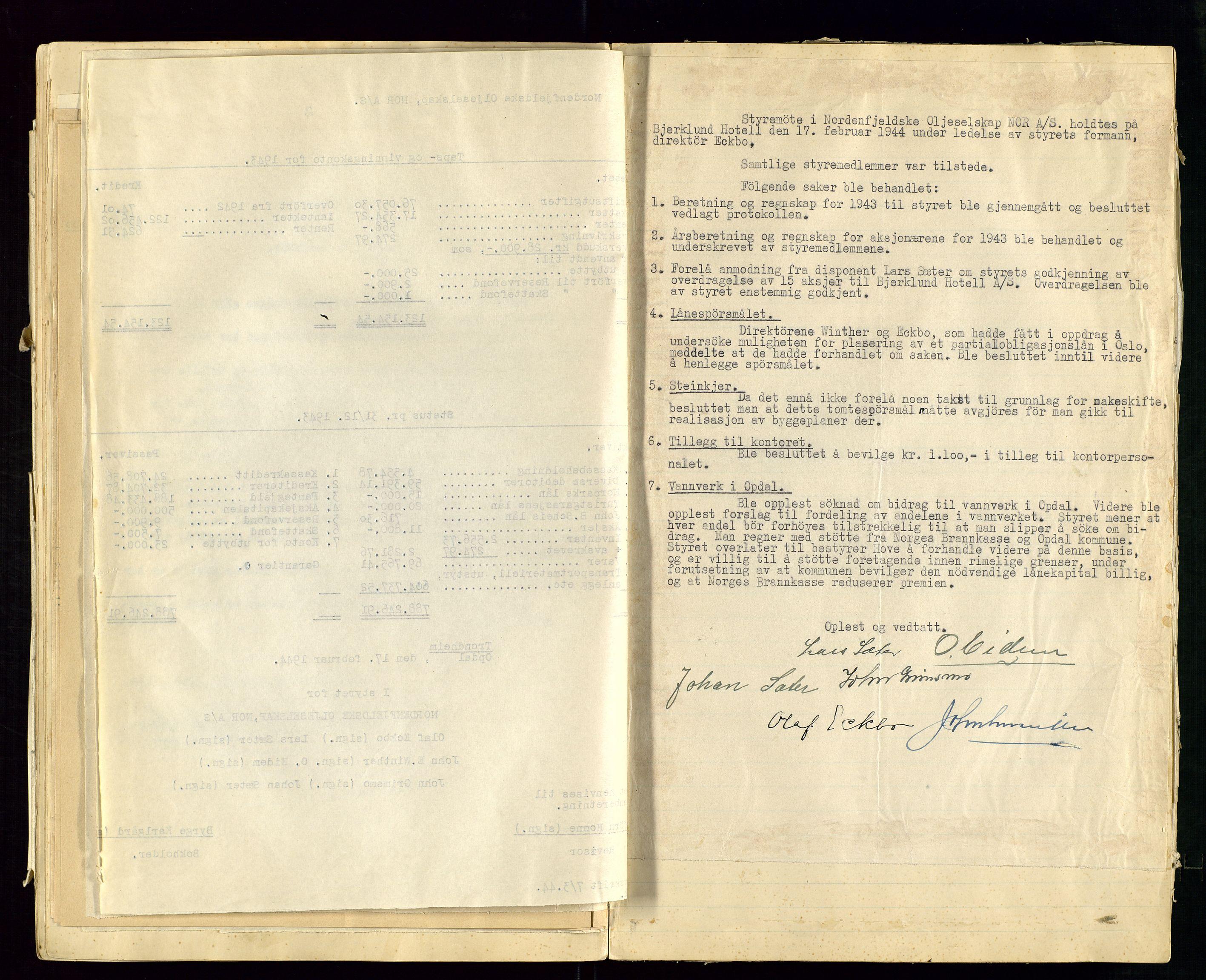 SAST, PA 1519 - Nordenfjeldske Oljeselskap, NOR A/S, A/L0001: Styreprotokoll, 1937-1962, s. 53