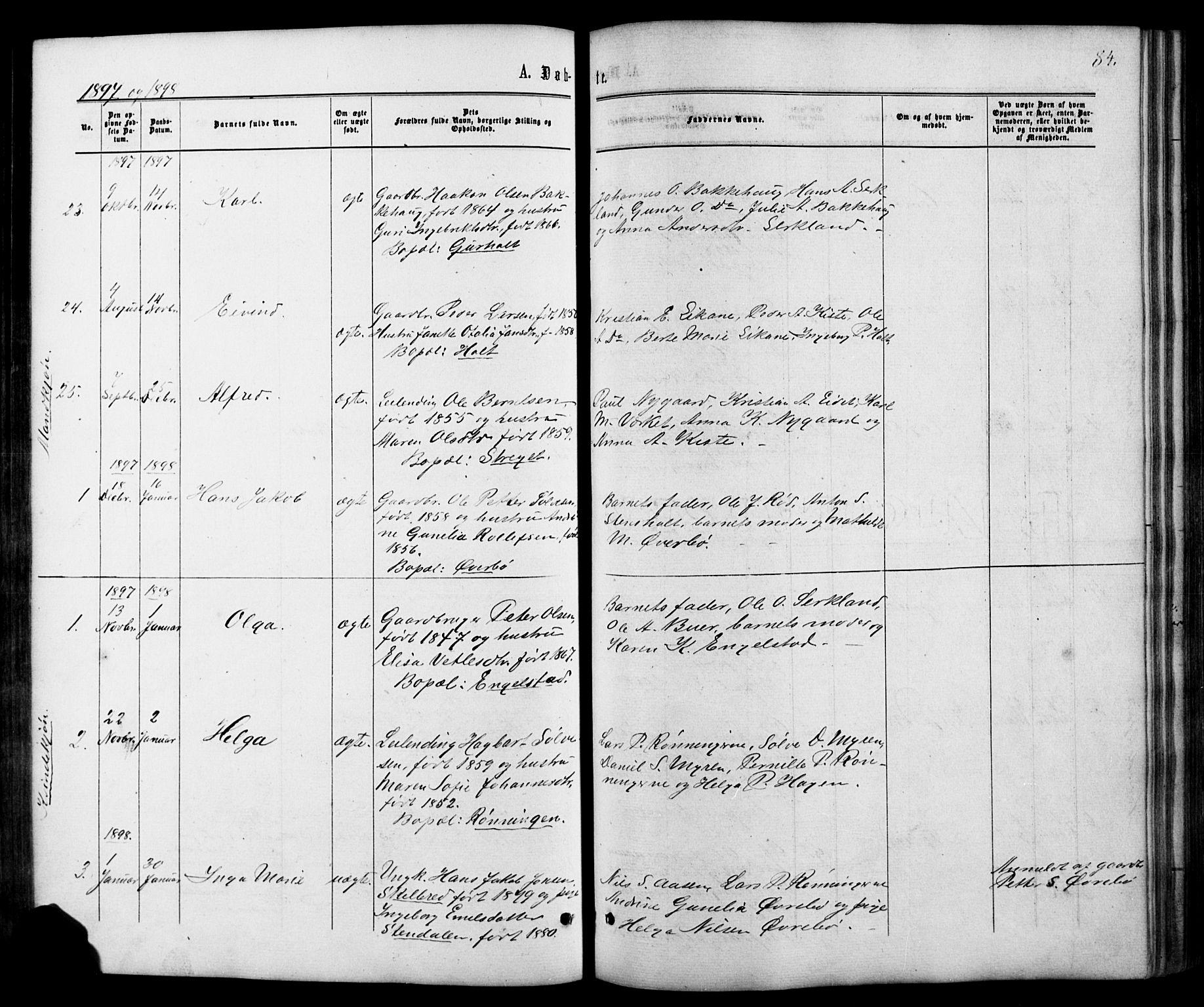 SAKO, Siljan kirkebøker, G/Ga/L0002: Klokkerbok nr. 2, 1864-1908, s. 84