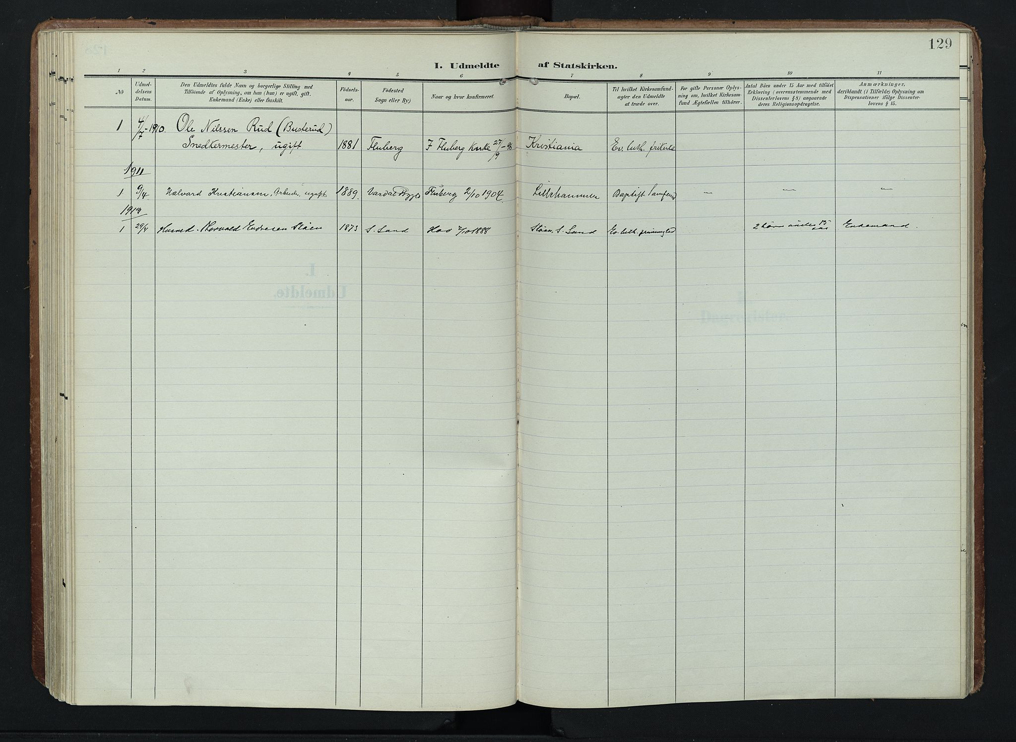 SAH, Søndre Land prestekontor, K/L0005: Ministerialbok nr. 5, 1905-1914, s. 129