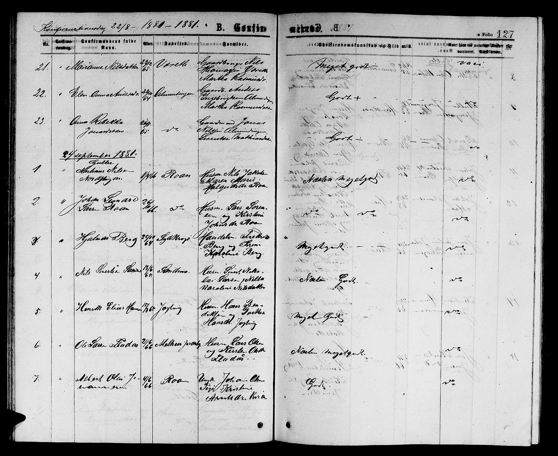 SAT, Ministerialprotokoller, klokkerbøker og fødselsregistre - Sør-Trøndelag, 657/L0715: Klokkerbok nr. 657C02, 1873-1888, s. 127