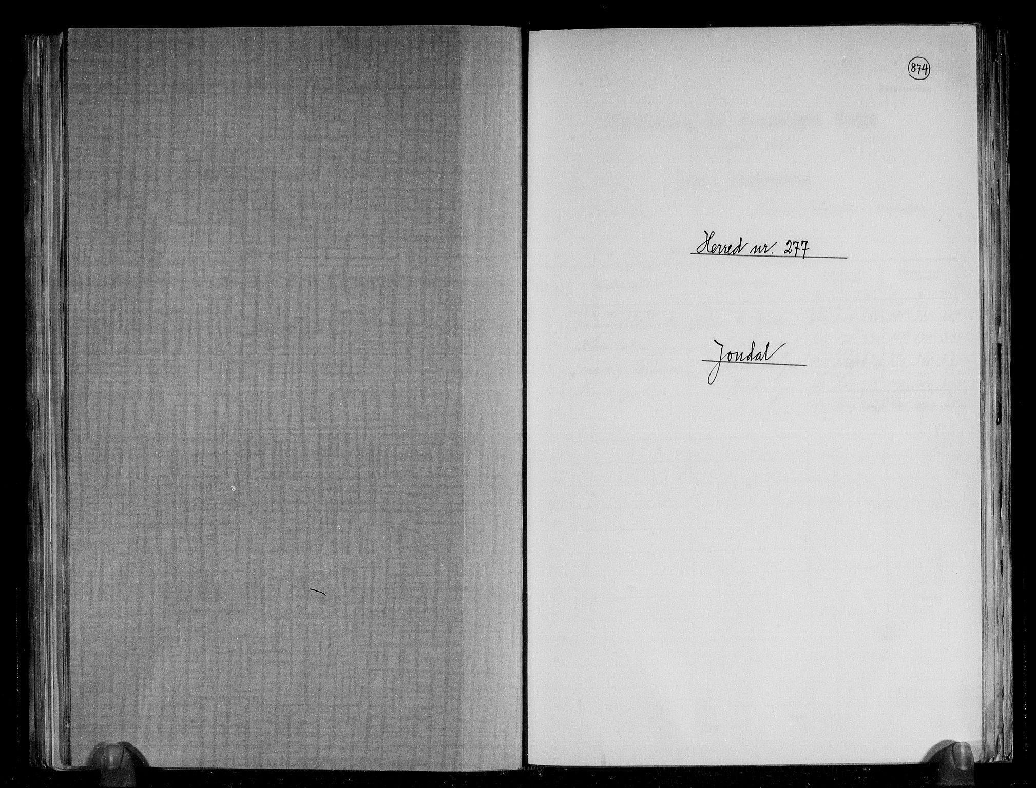 RA, Folketelling 1891 for 1227 Jondal herred, 1891, s. 1