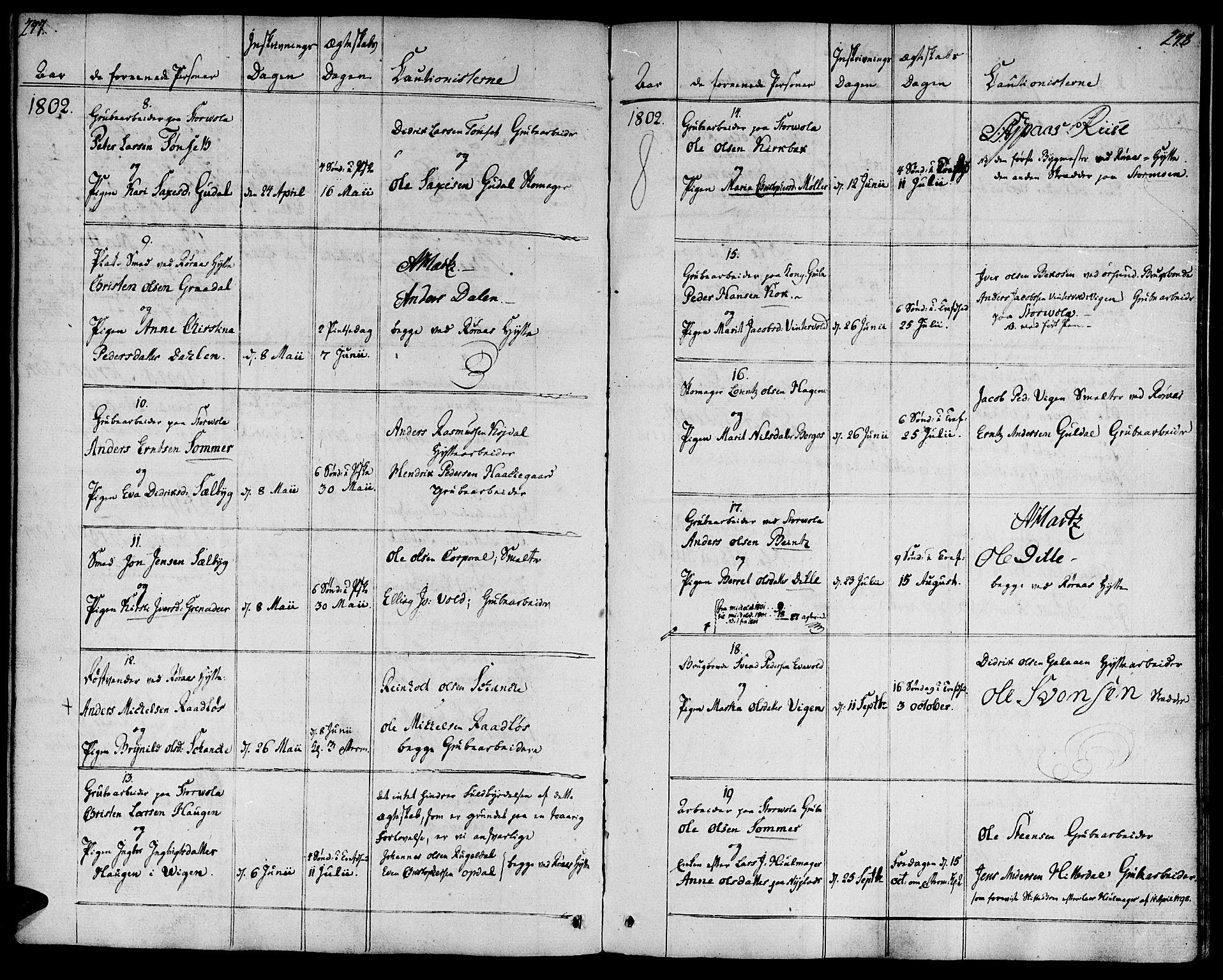 SAT, Ministerialprotokoller, klokkerbøker og fødselsregistre - Sør-Trøndelag, 681/L0927: Ministerialbok nr. 681A05, 1798-1808, s. 277-278