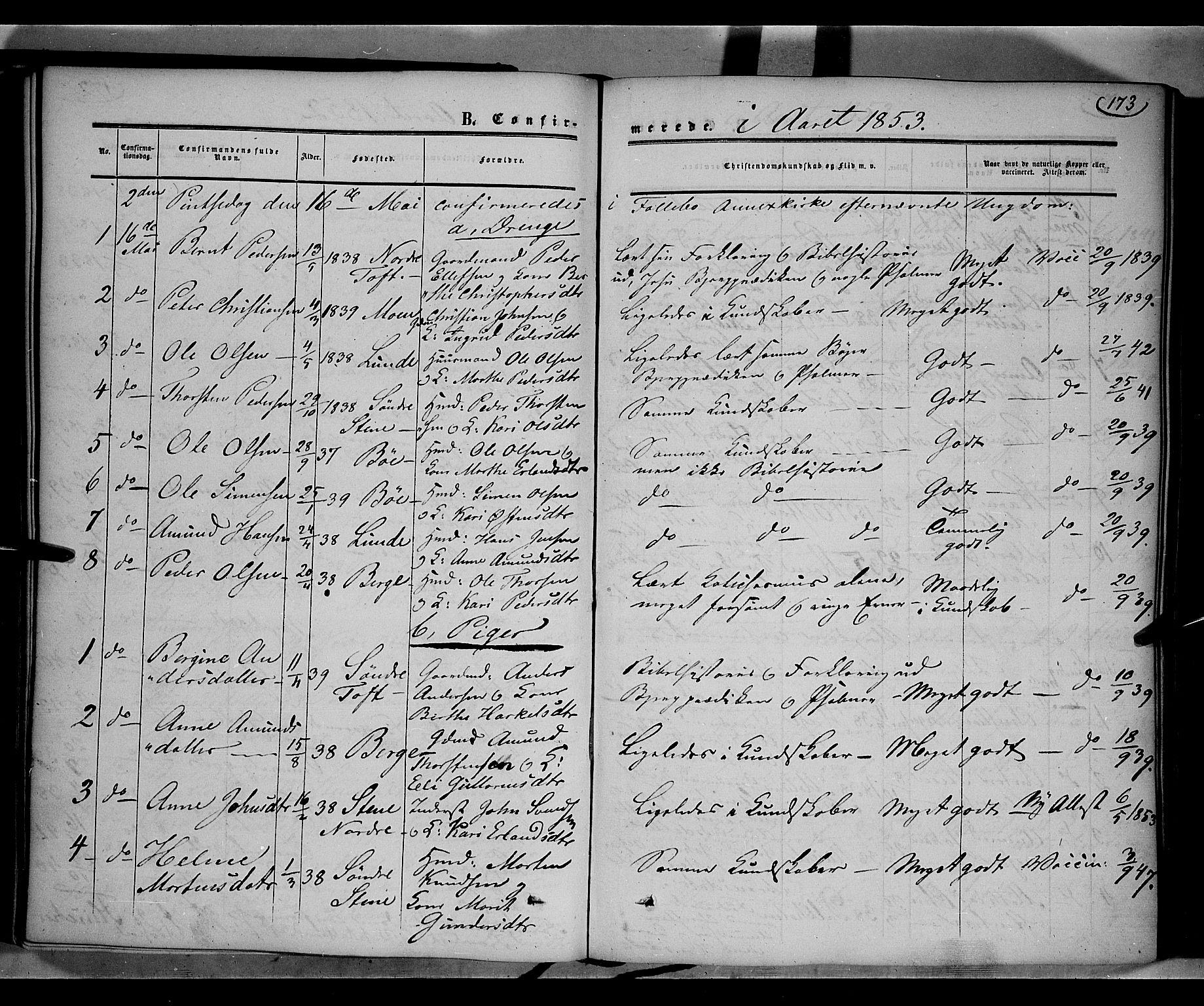 SAH, Gausdal prestekontor, Ministerialbok nr. 8, 1850-1861, s. 173