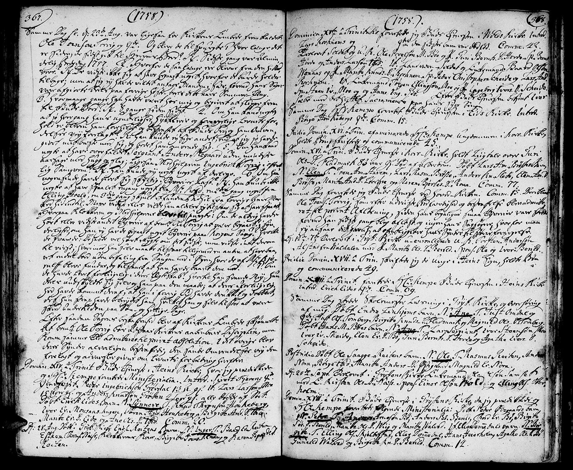 SAT, Ministerialprotokoller, klokkerbøker og fødselsregistre - Møre og Romsdal, 544/L0568: Ministerialbok nr. 544A01, 1725-1763, s. 367-368