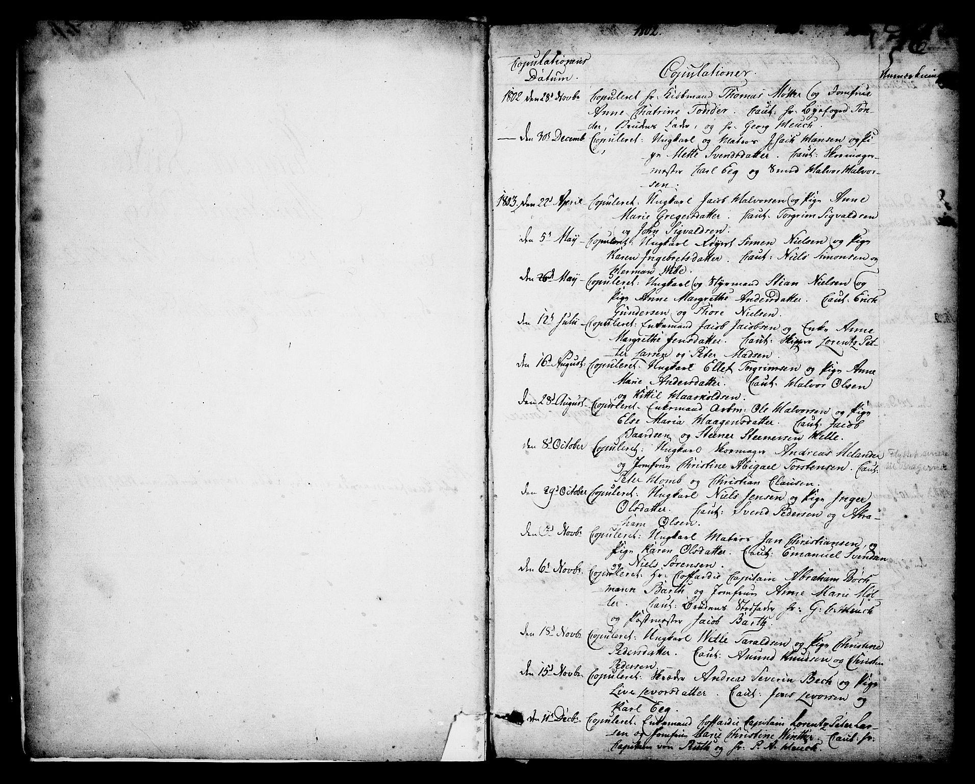 SAKO, Kragerø kirkebøker, F/Fa/L0003: Ministerialbok nr. 3, 1802-1813, s. 1