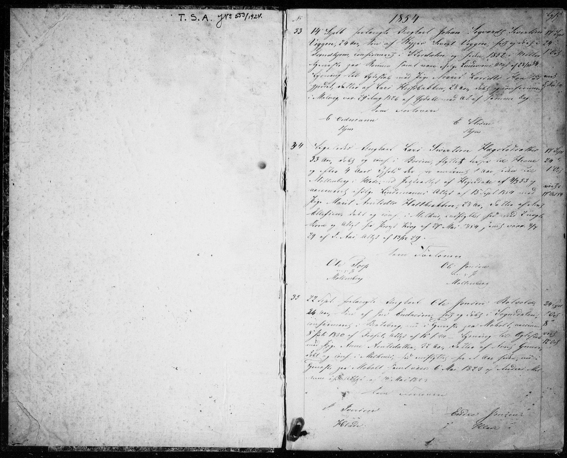 SAT, Ministerialprotokoller, klokkerbøker og fødselsregistre - Sør-Trøndelag, 606/L0297: Lysningsprotokoll nr. 606A12, 1854-1861, s. 1