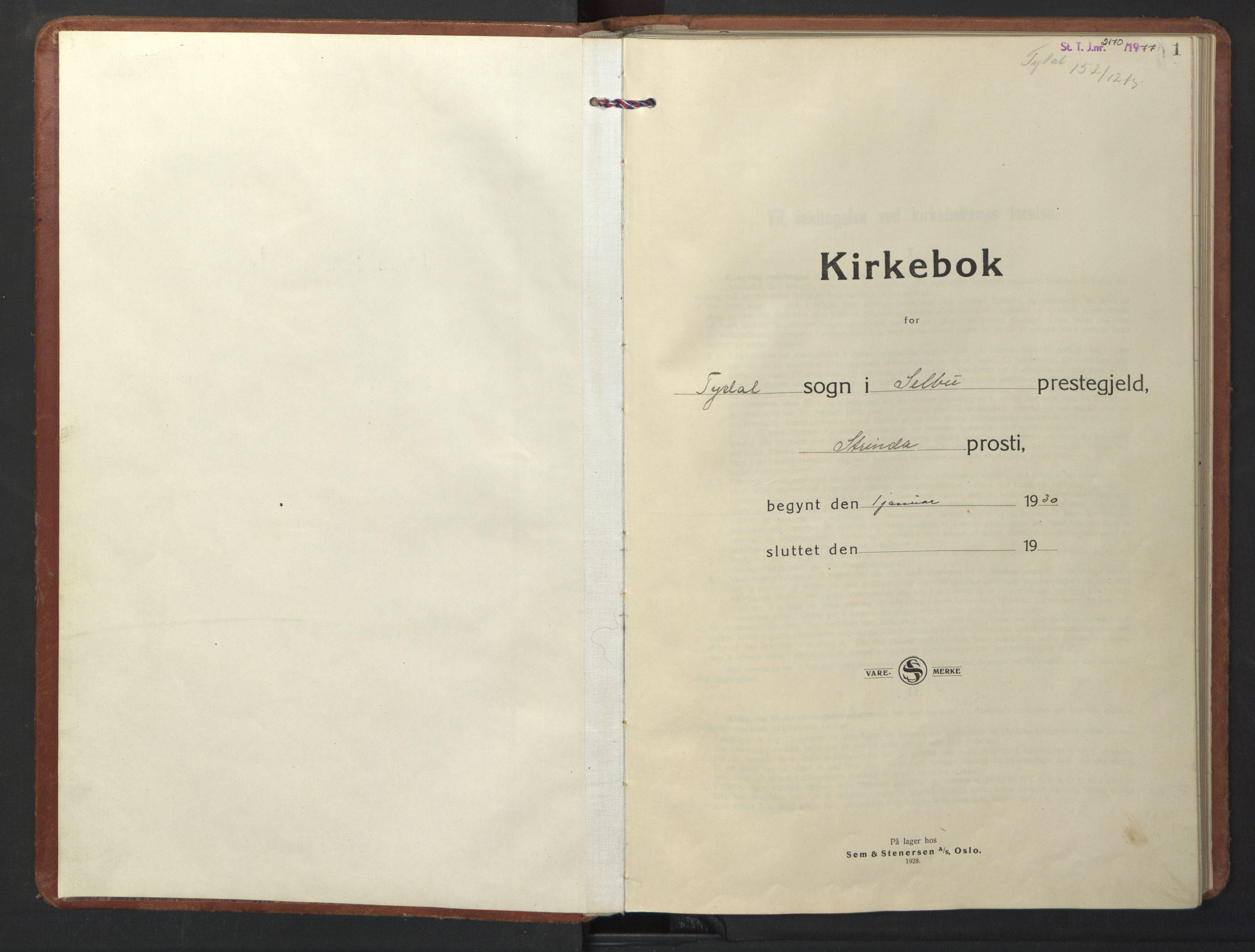 SAT, Ministerialprotokoller, klokkerbøker og fødselsregistre - Sør-Trøndelag, 698/L1169: Klokkerbok nr. 698C06, 1930-1949, s. 1