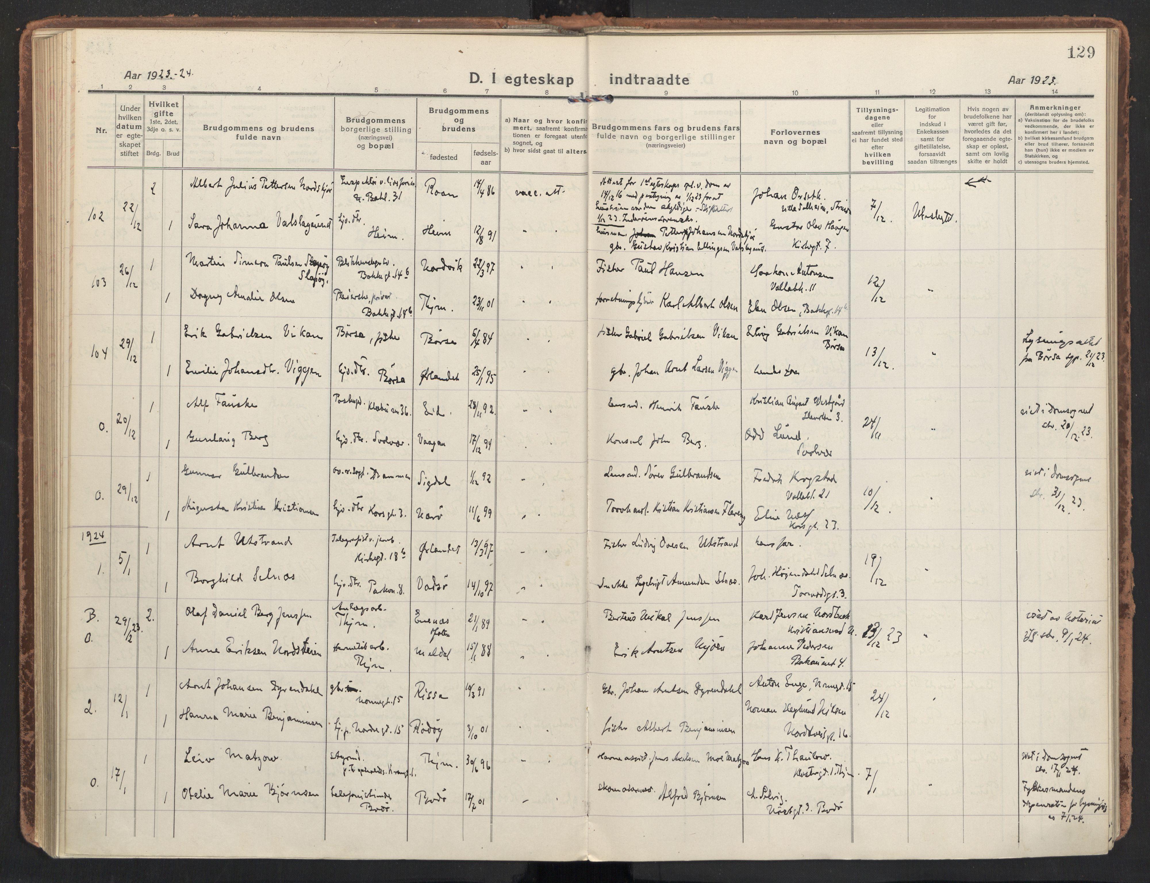 SAT, Ministerialprotokoller, klokkerbøker og fødselsregistre - Sør-Trøndelag, 604/L0206: Ministerialbok nr. 604A26, 1917-1931, s. 129