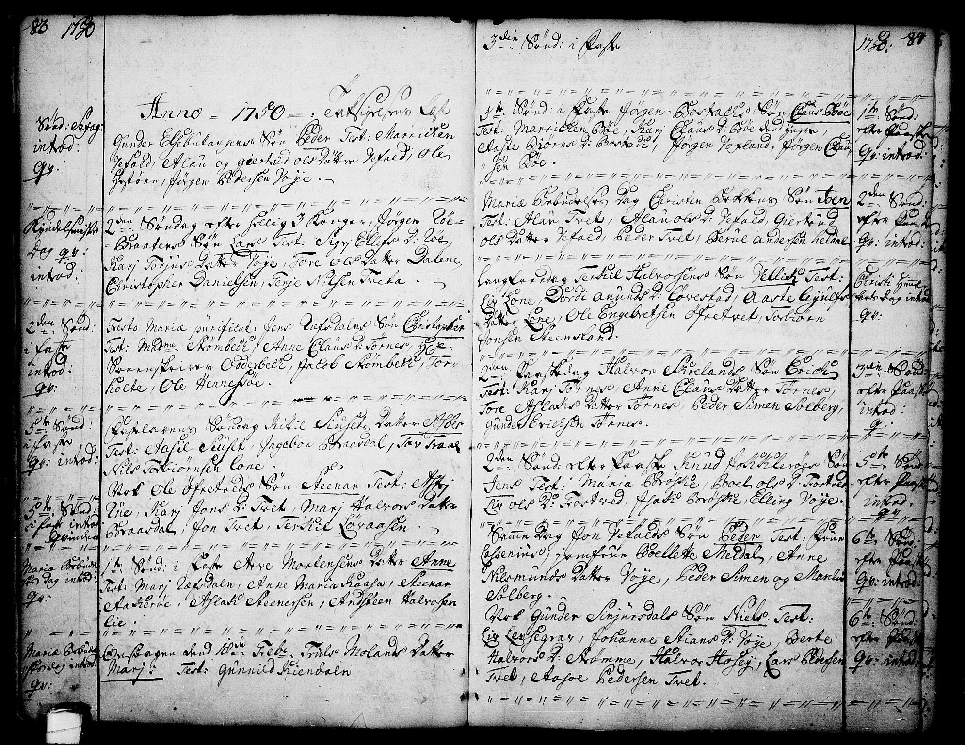 SAKO, Drangedal kirkebøker, F/Fa/L0002: Ministerialbok nr. 2, 1733-1753, s. 83-84