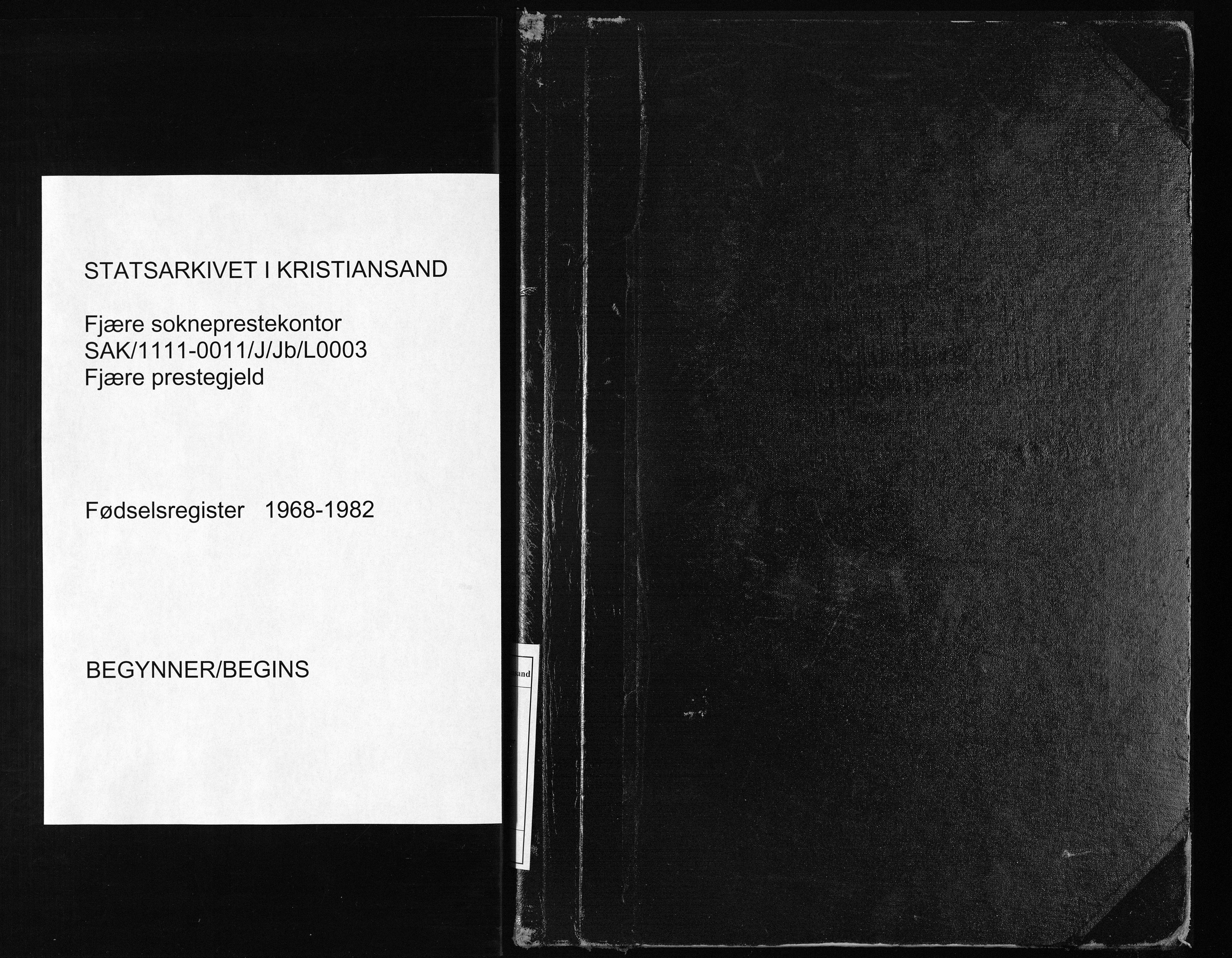 SAK, Fjære sokneprestkontor, J/Jb/L0003: Fødselsregister nr. 3, 1968-1982