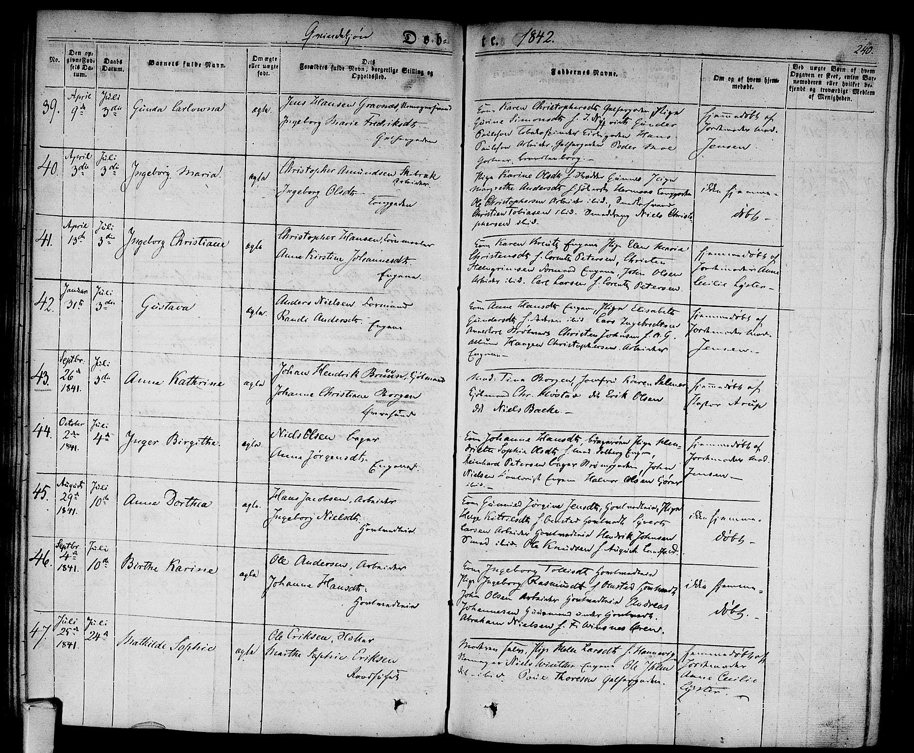 SAKO, Bragernes kirkebøker, F/Fb/L0001: Ministerialbok nr. II 1, 1830-1847, s. 240