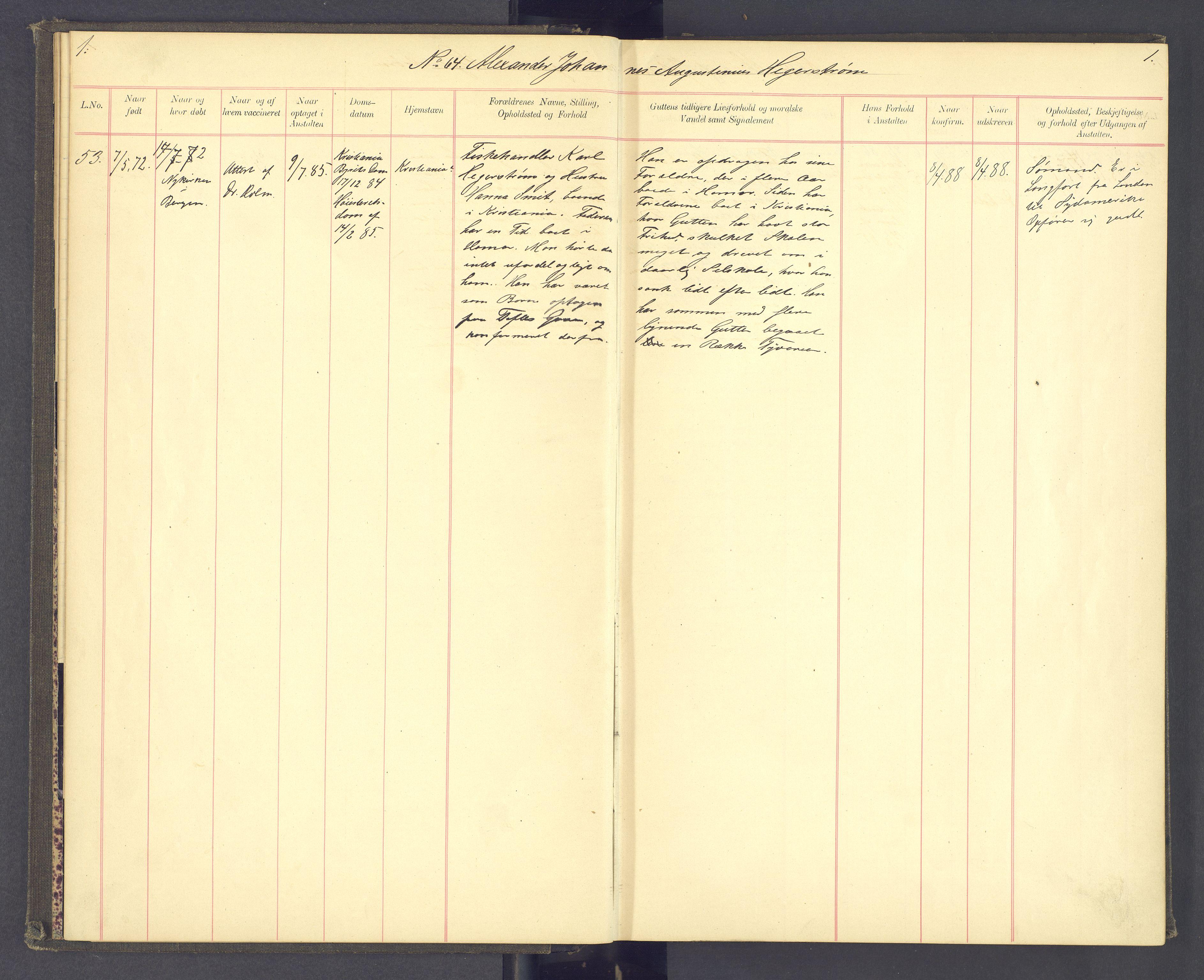 SAH, Toftes Gave, F/Fc/L0003: Elevprotokoll, 1886-1897, s. 1
