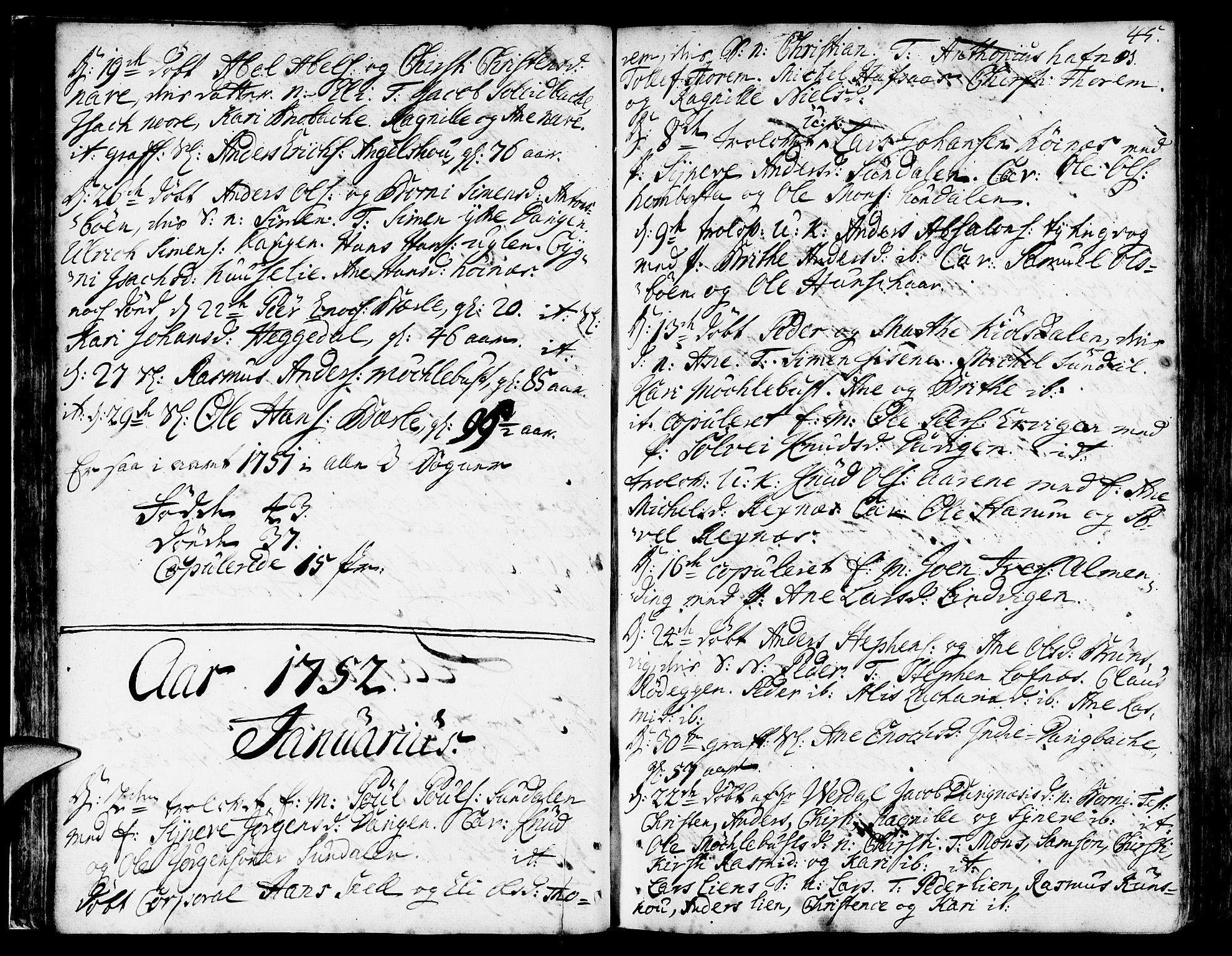 SAB, Davik Sokneprestembete, Ministerialbok nr. A 2, 1742-1816, s. 45