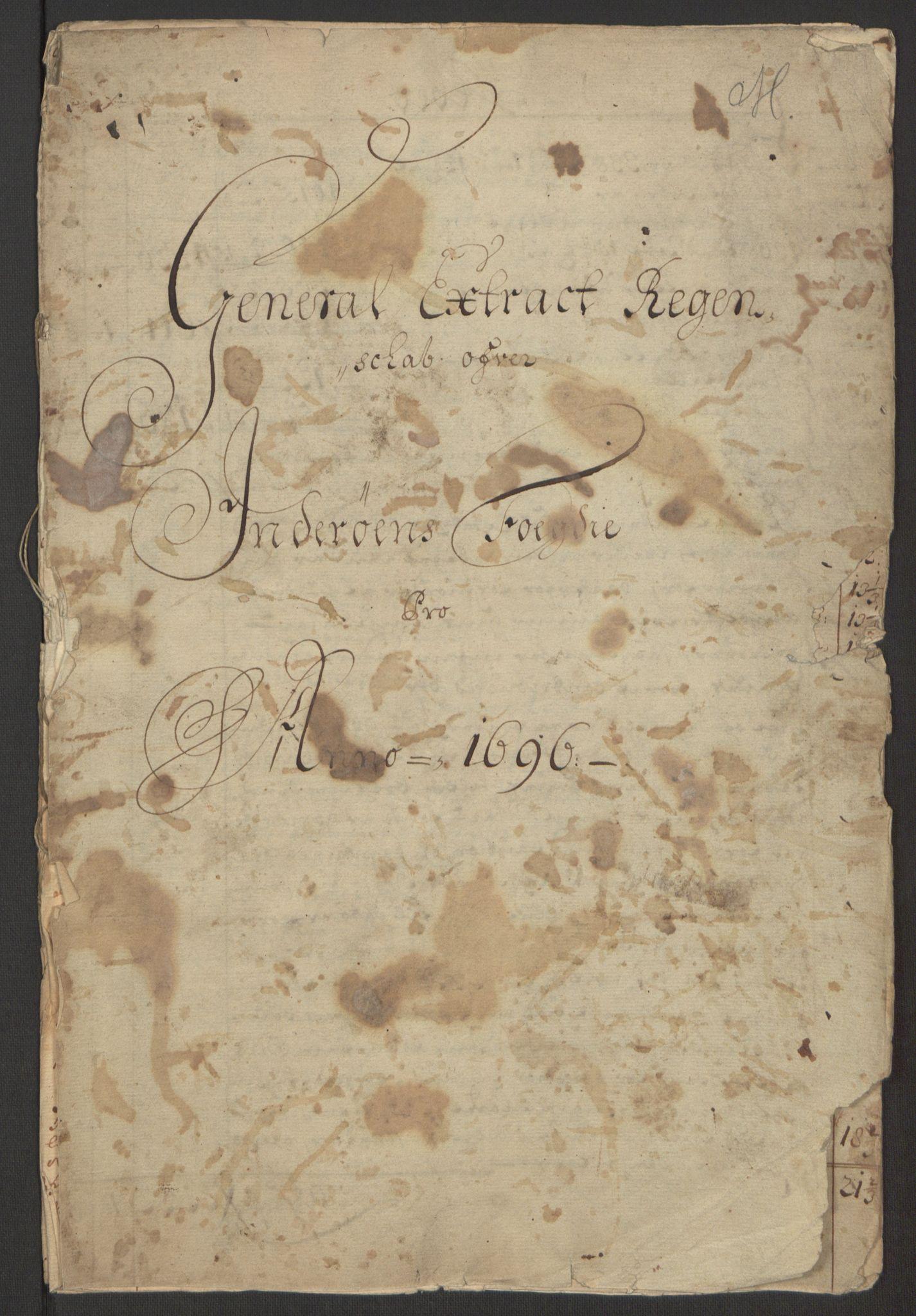 RA, Rentekammeret inntil 1814, Reviderte regnskaper, Fogderegnskap, R63/L4309: Fogderegnskap Inderøy, 1695-1697, s. 122
