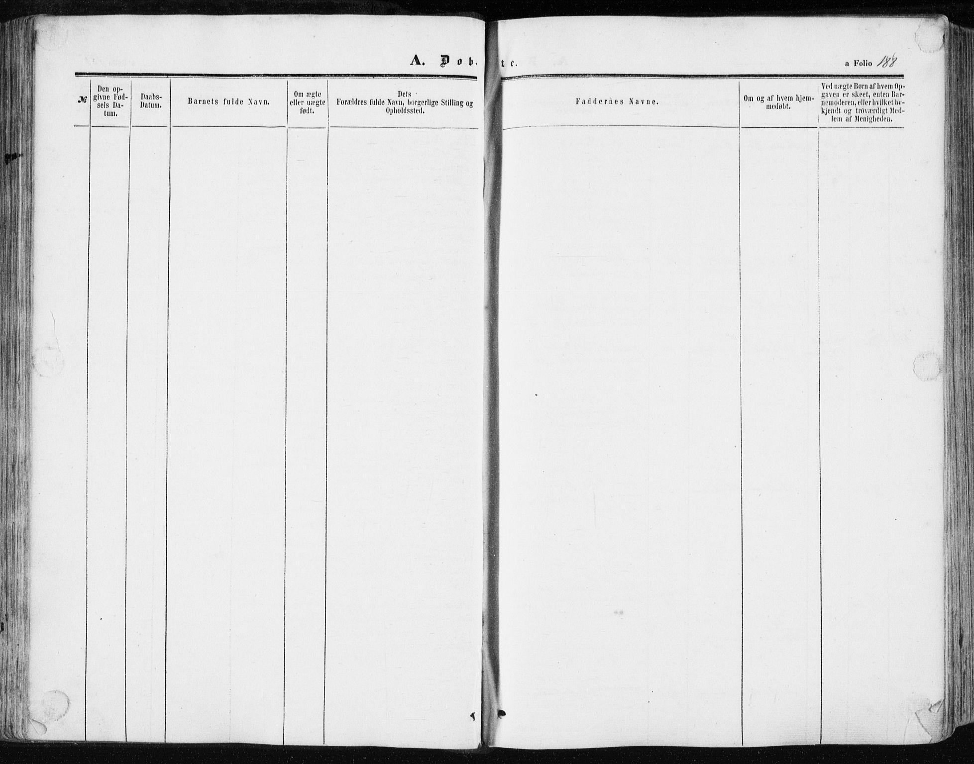 SAT, Ministerialprotokoller, klokkerbøker og fødselsregistre - Sør-Trøndelag, 634/L0531: Ministerialbok nr. 634A07, 1861-1870, s. 188