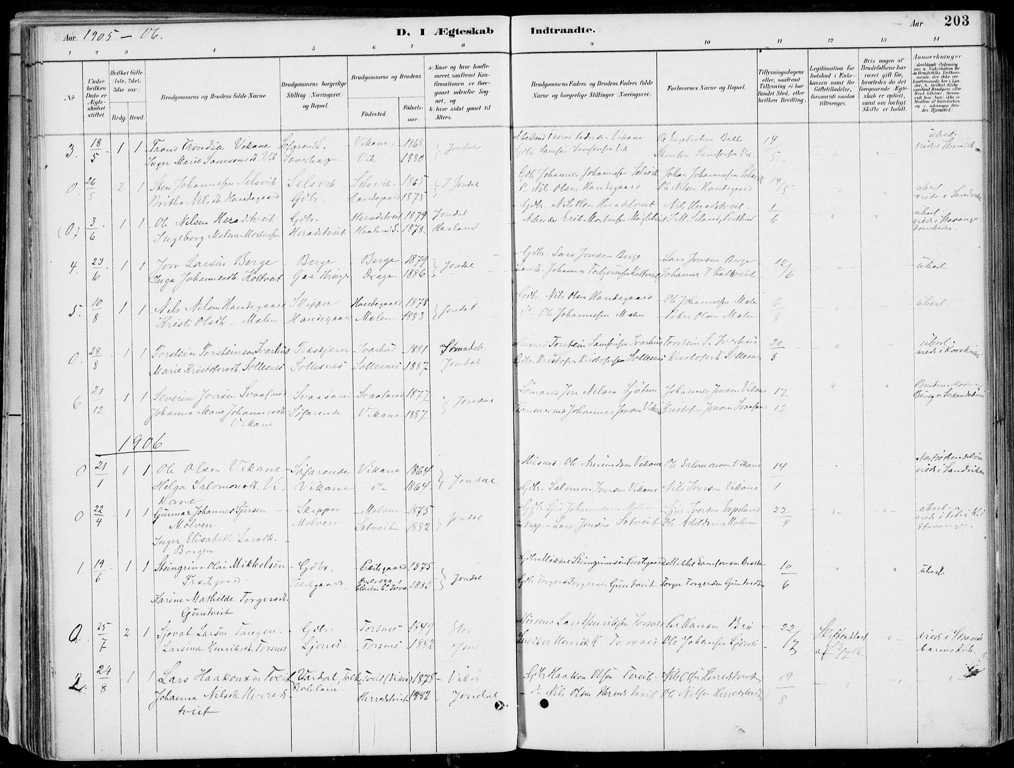SAB, Strandebarm Sokneprestembete, H/Haa: Ministerialbok nr. E  1, 1886-1908, s. 203