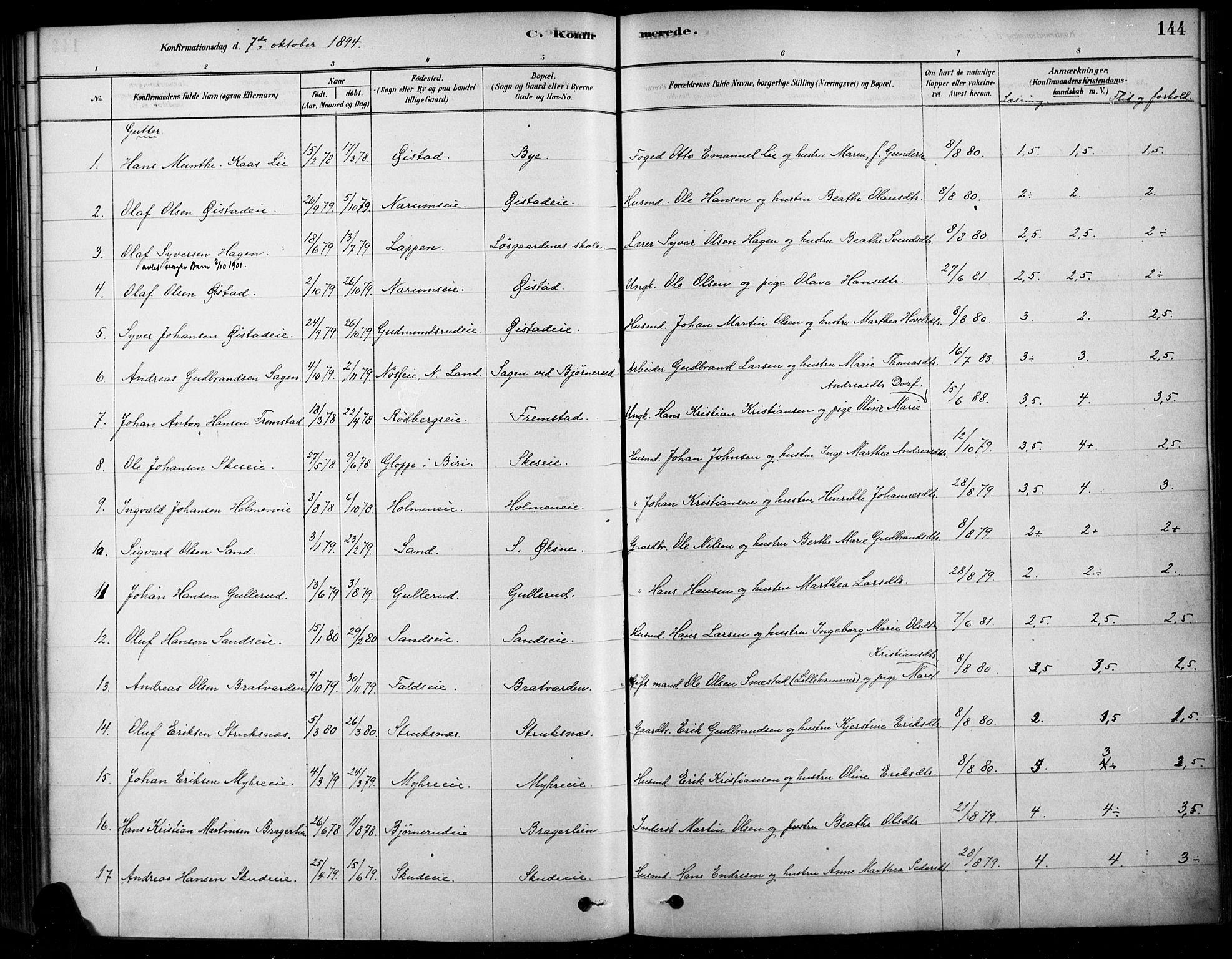 SAH, Søndre Land prestekontor, K/L0003: Ministerialbok nr. 3, 1878-1894, s. 144