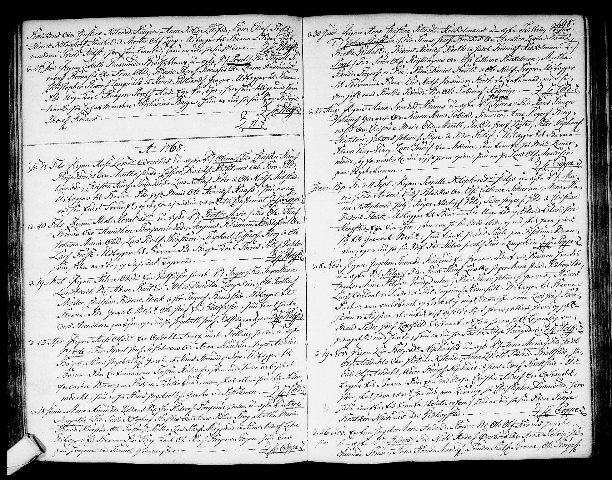 SAKO, Kongsberg kirkebøker, F/Fa/L0004: Ministerialbok nr. I 4, 1756-1768, s. 198