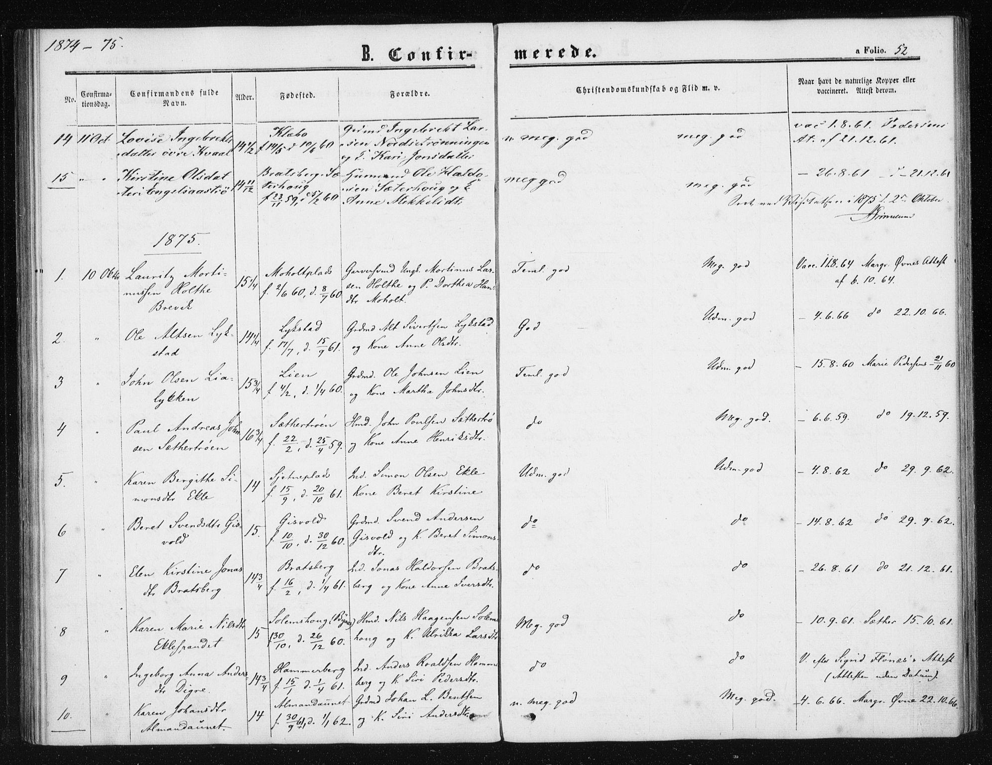 SAT, Ministerialprotokoller, klokkerbøker og fødselsregistre - Sør-Trøndelag, 608/L0333: Ministerialbok nr. 608A02, 1862-1876, s. 52