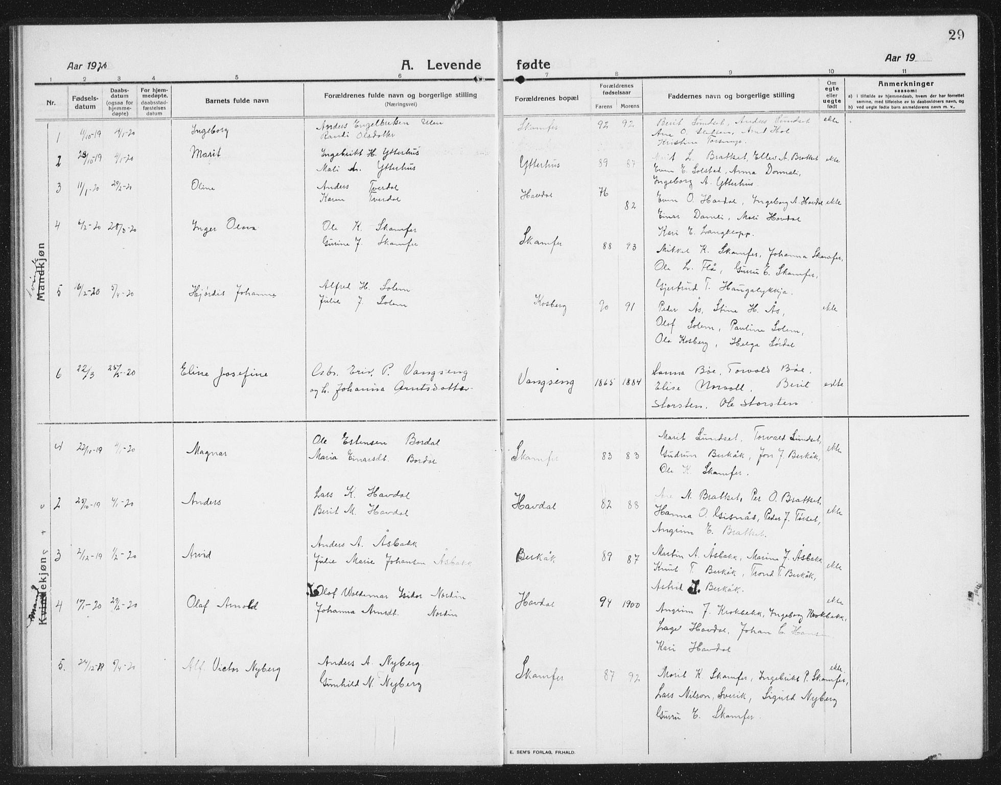 SAT, Ministerialprotokoller, klokkerbøker og fødselsregistre - Sør-Trøndelag, 675/L0888: Klokkerbok nr. 675C01, 1913-1935, s. 29