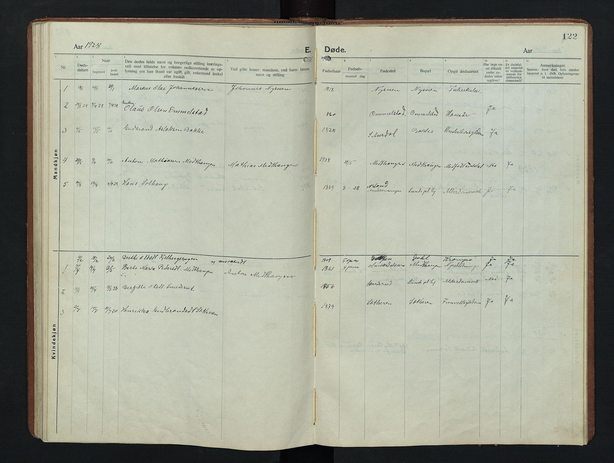 SAH, Nordre Land prestekontor, Klokkerbok nr. 9, 1921-1956, s. 122