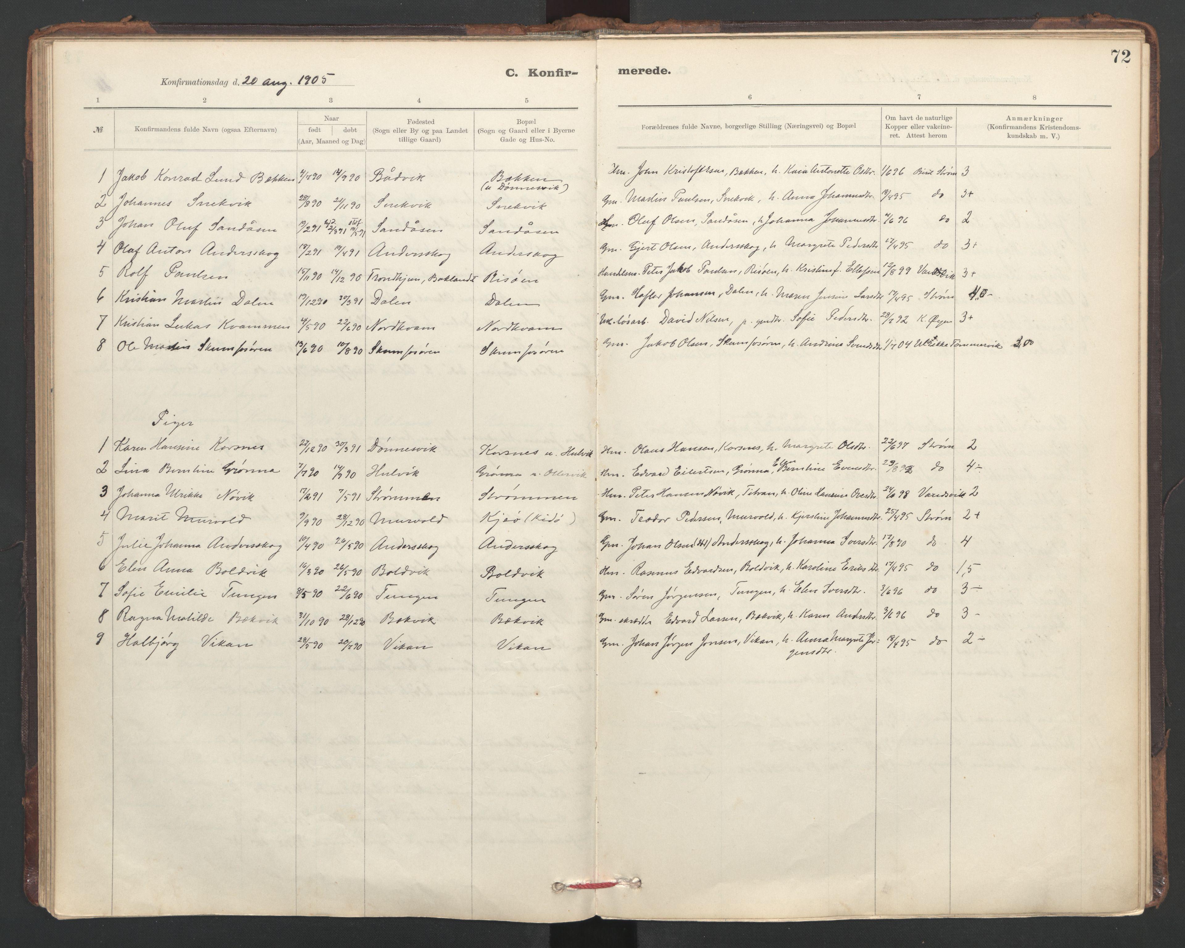 SAT, Ministerialprotokoller, klokkerbøker og fødselsregistre - Sør-Trøndelag, 635/L0552: Ministerialbok nr. 635A02, 1899-1919, s. 72