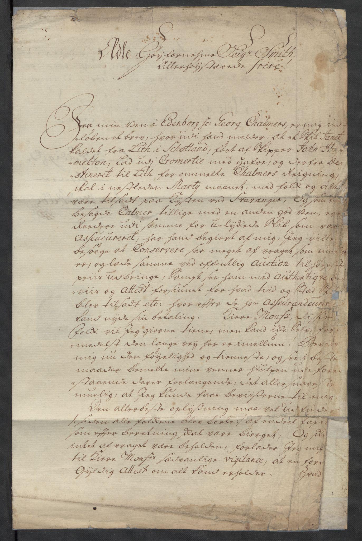 SAST, Pa 0119 - Smith, Lauritz Andersen og Lauritz Lauritzen, O/L0001: Kopibøker m.m., 1740-1745, s. 2