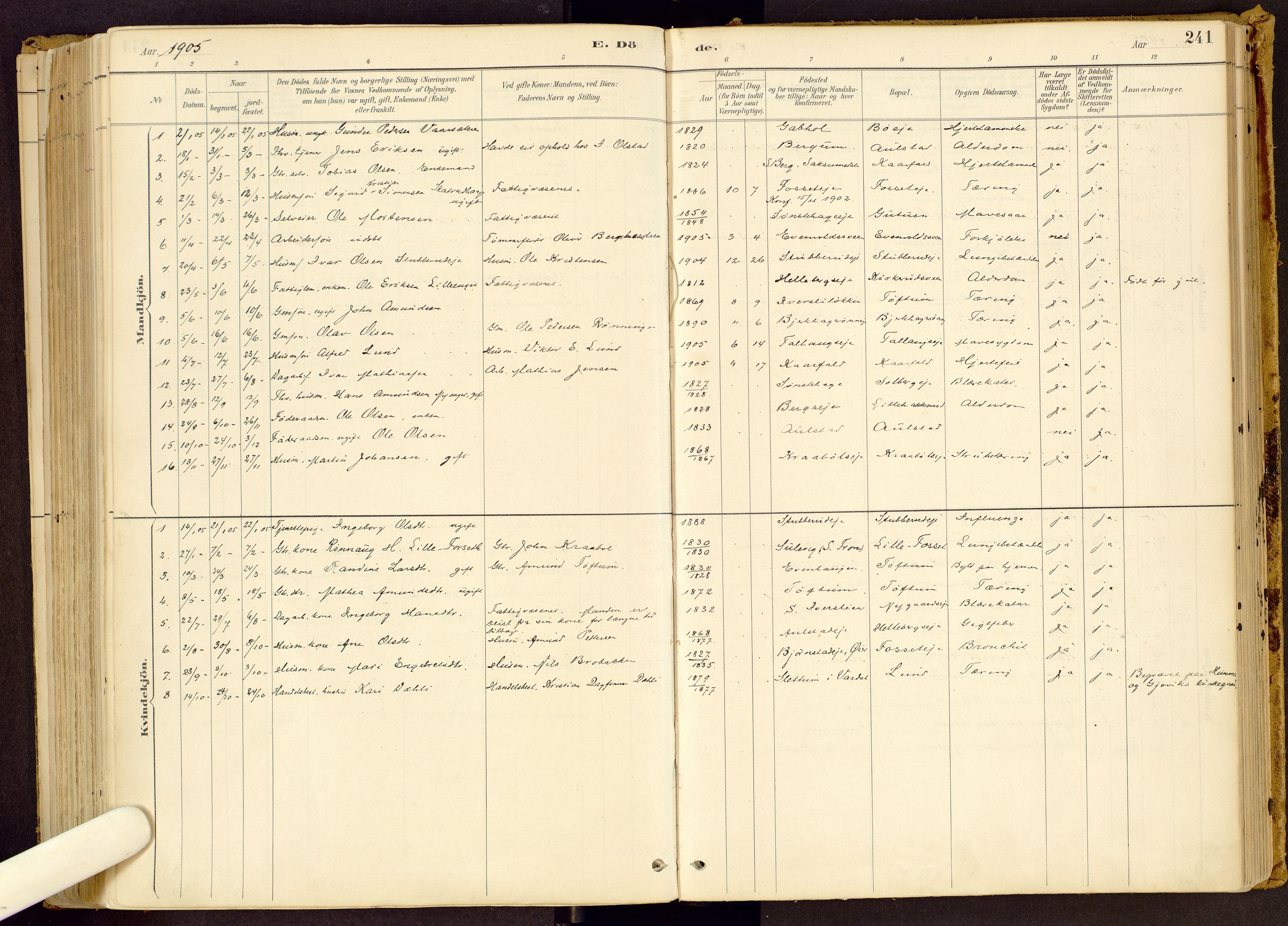 SAH, Vestre Gausdal prestekontor, Ministerialbok nr. 1, 1887-1914, s. 241