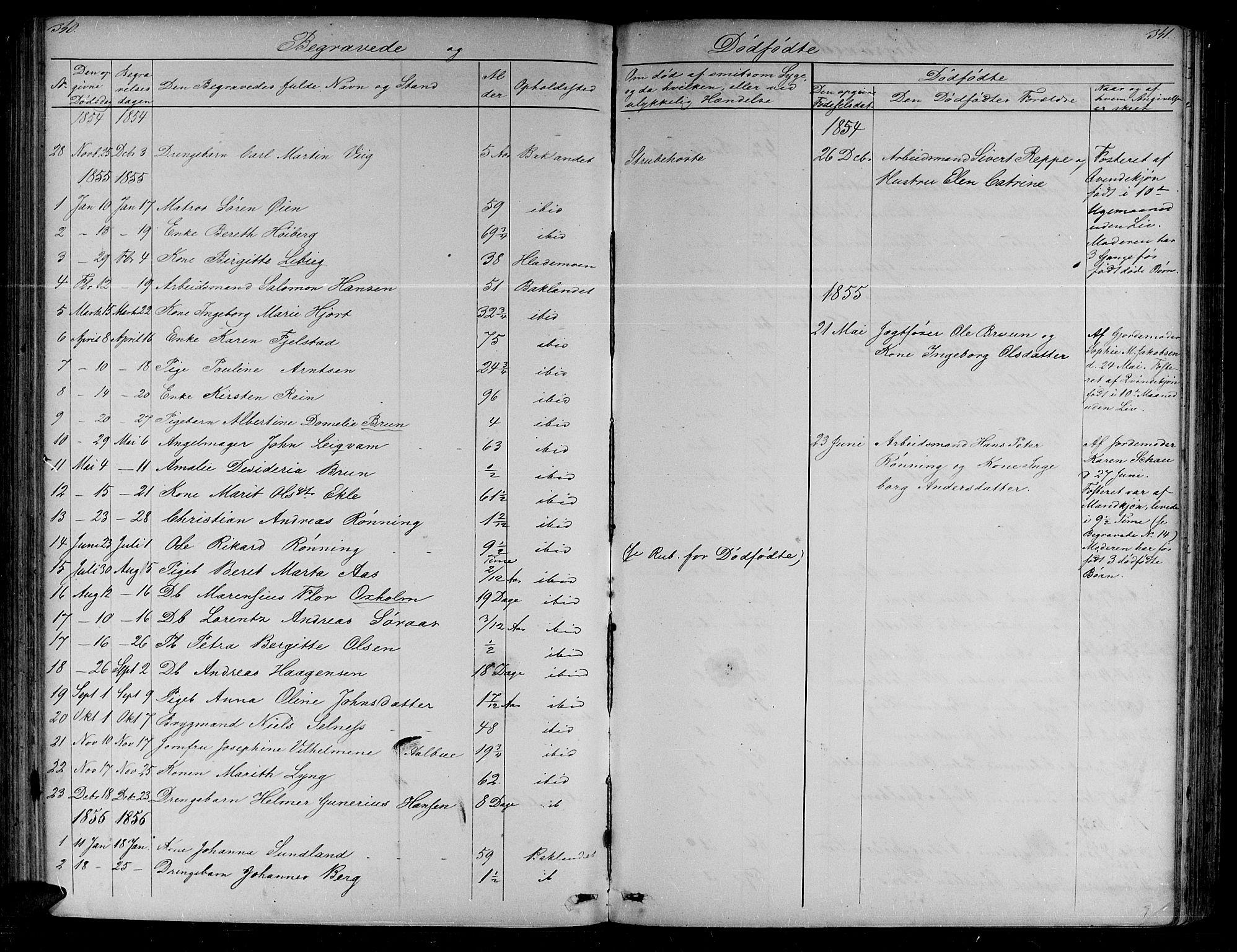 SAT, Ministerialprotokoller, klokkerbøker og fødselsregistre - Sør-Trøndelag, 604/L0219: Klokkerbok nr. 604C02, 1851-1869, s. 340-341