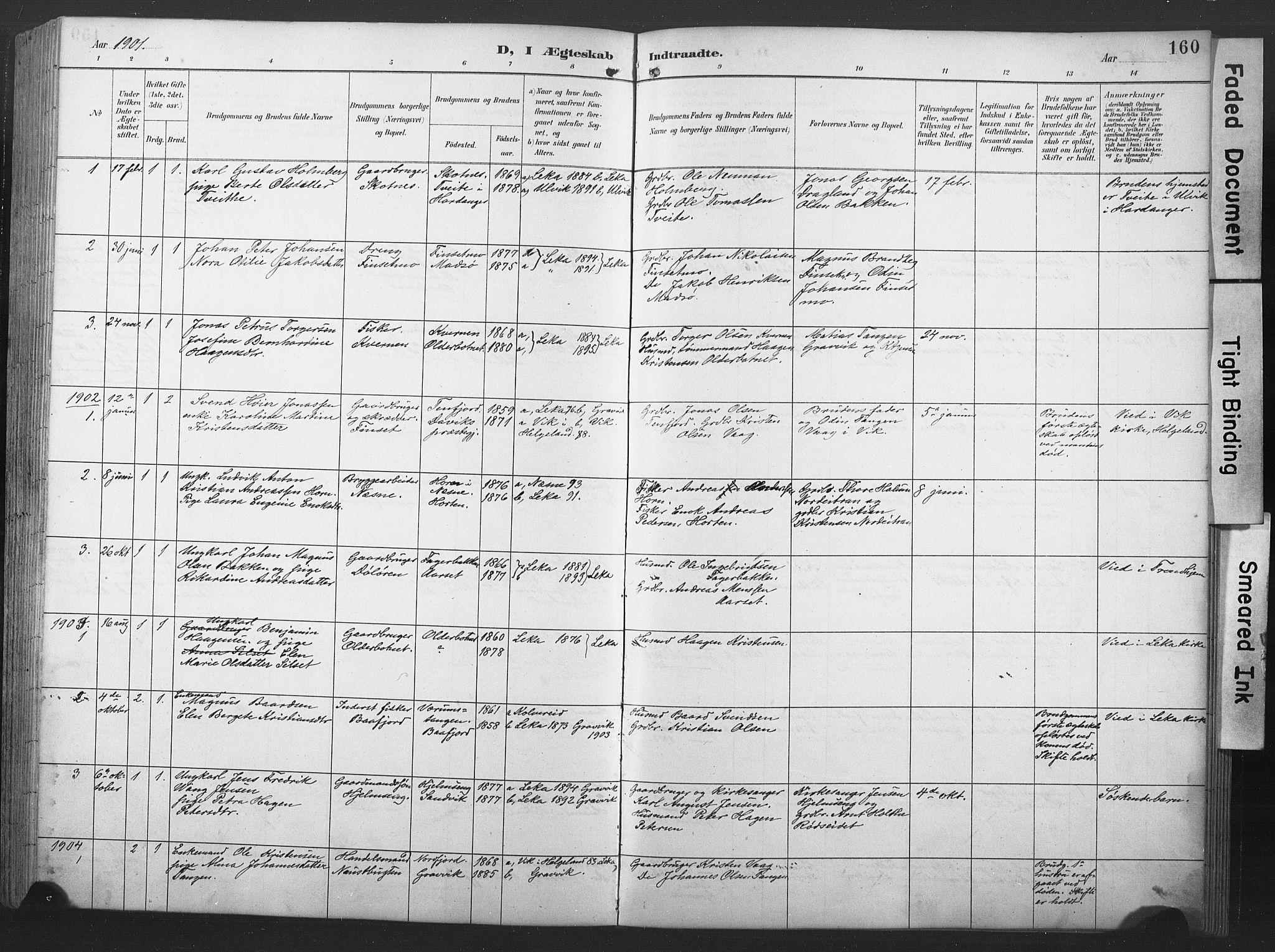 SAT, Ministerialprotokoller, klokkerbøker og fødselsregistre - Nord-Trøndelag, 789/L0706: Klokkerbok nr. 789C01, 1888-1931, s. 160