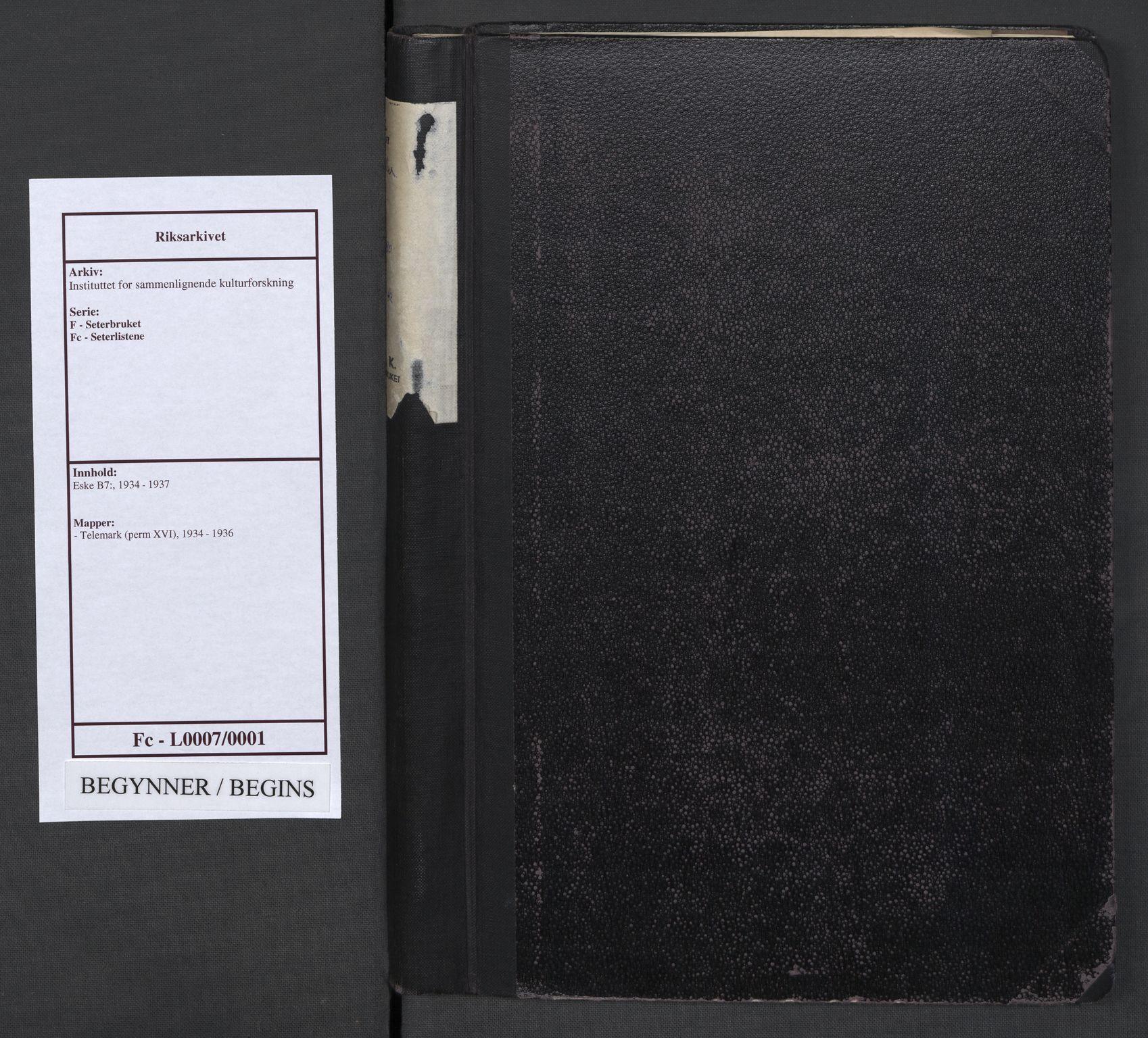 RA, Instituttet for sammenlignende kulturforskning, F/Fc/L0007: Eske B7:, 1934-1936, s. upaginert