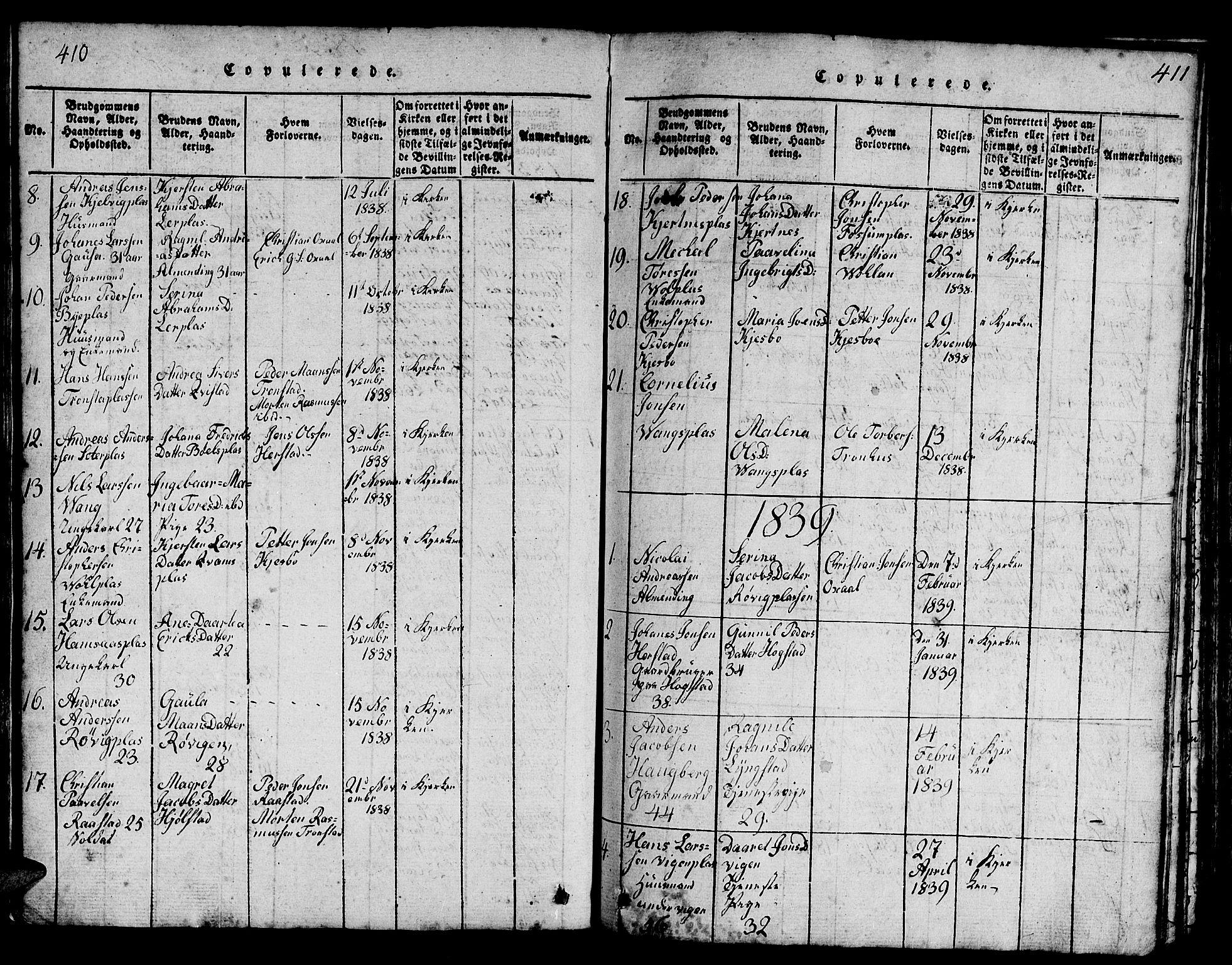 SAT, Ministerialprotokoller, klokkerbøker og fødselsregistre - Nord-Trøndelag, 730/L0298: Klokkerbok nr. 730C01, 1816-1849, s. 410-411