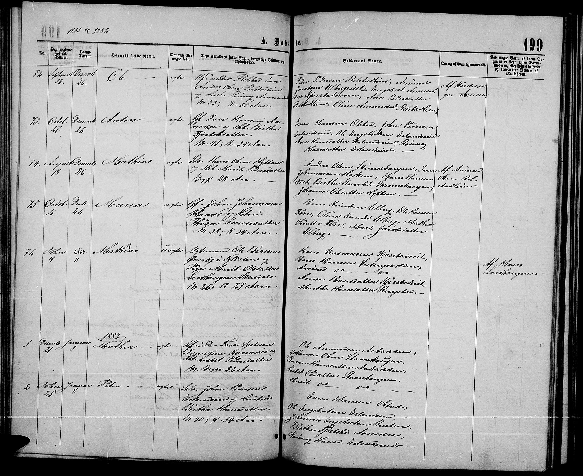 SAH, Sør-Fron prestekontor, H/Ha/Hab/L0002: Klokkerbok nr. 2, 1864-1883, s. 199