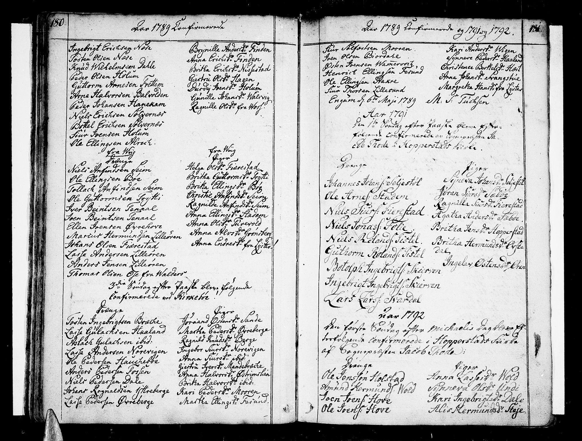 SAB, Vik Sokneprestembete, Ministerialbok nr. A 5, 1787-1820, s. 180-181