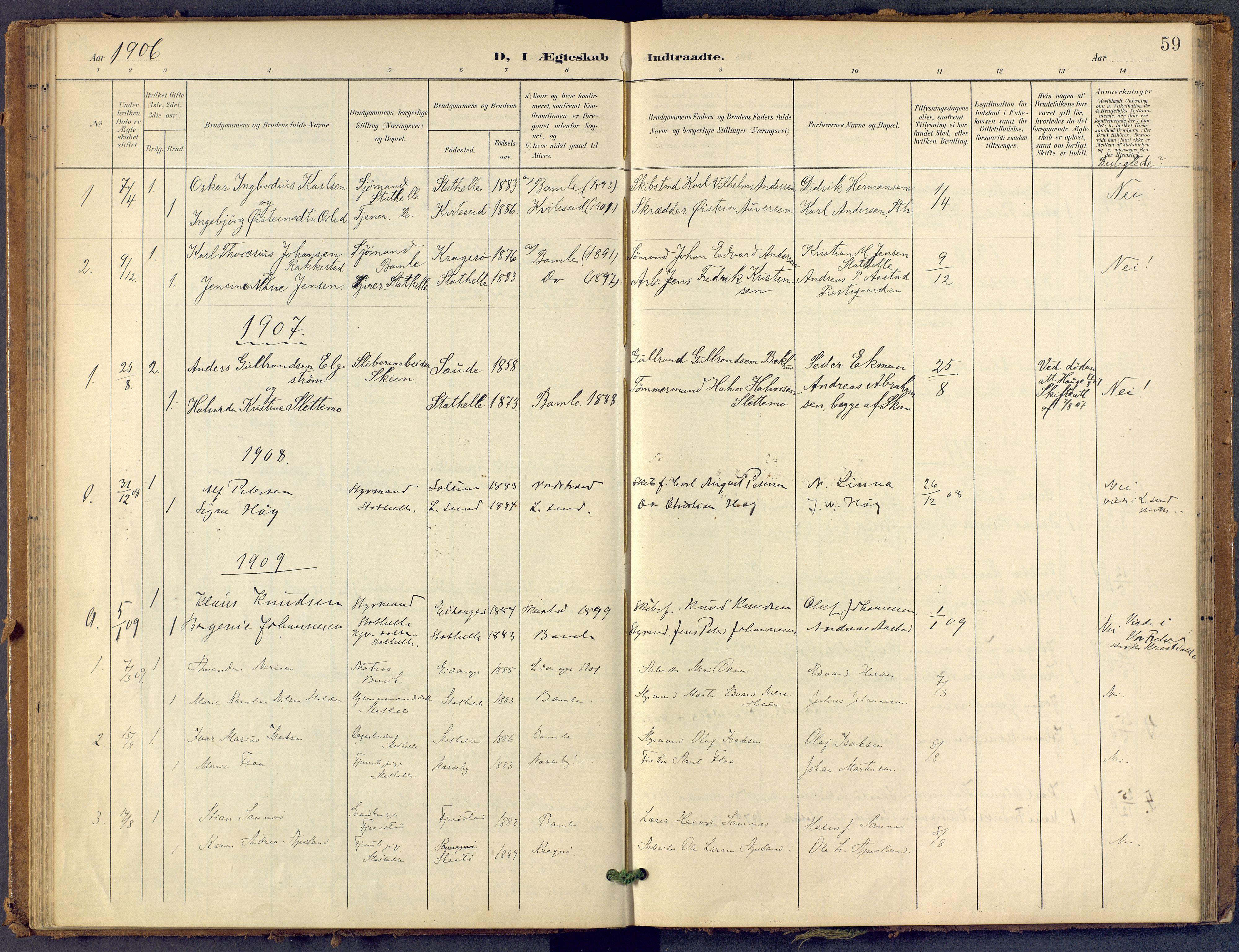 SAKO, Bamble kirkebøker, F/Fb/L0002: Ministerialbok nr. II 2, 1900-1921, s. 59