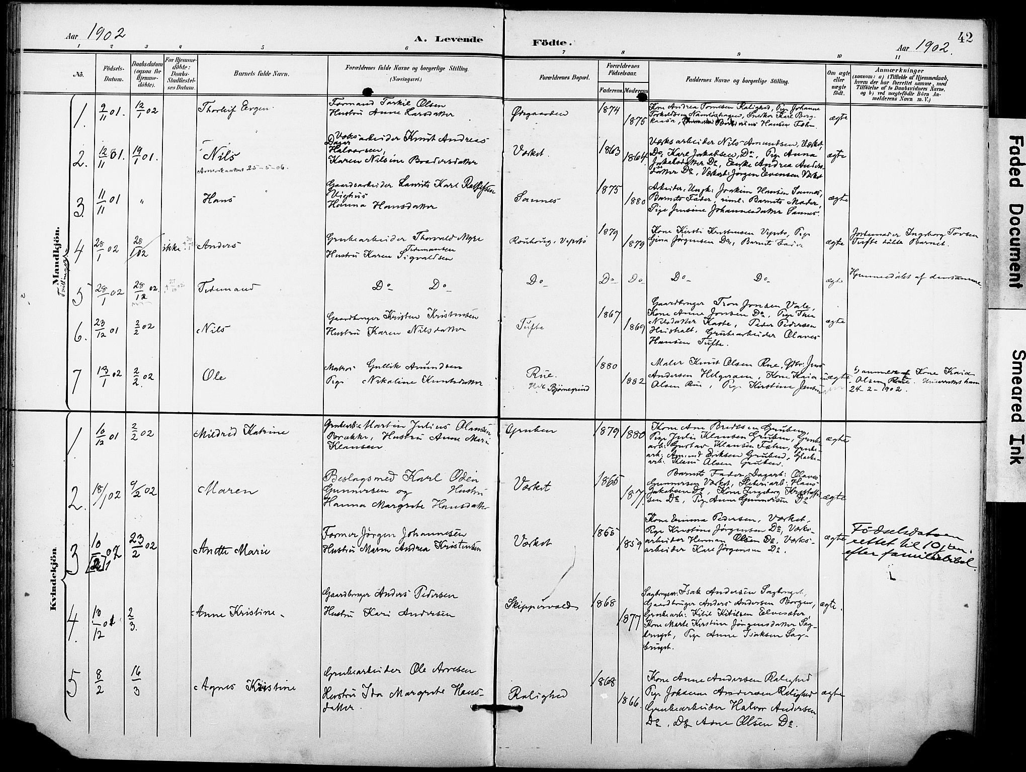SAKO, Holla kirkebøker, F/Fa/L0010: Ministerialbok nr. 10, 1897-1907, s. 42