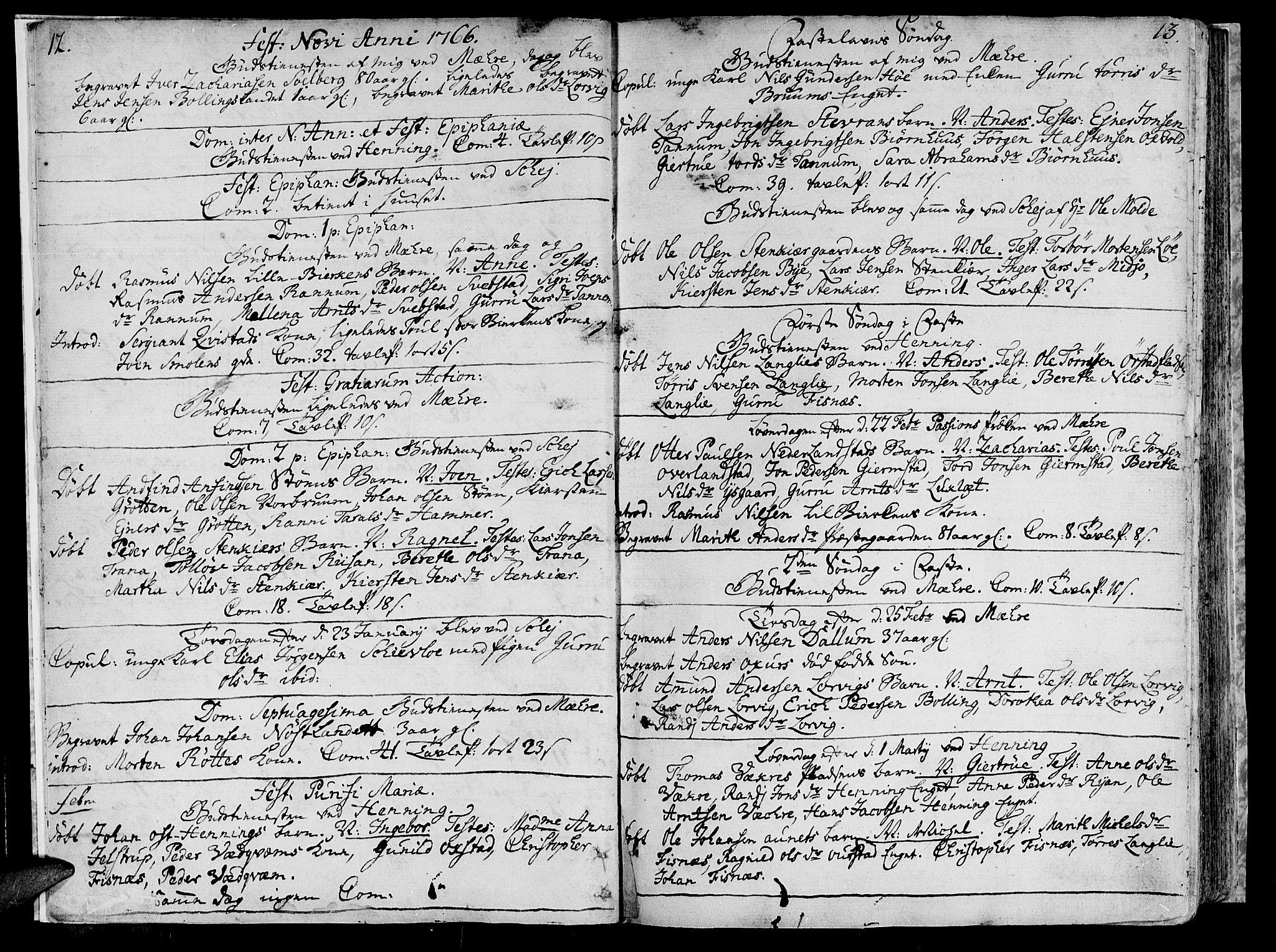 SAT, Ministerialprotokoller, klokkerbøker og fødselsregistre - Nord-Trøndelag, 735/L0331: Ministerialbok nr. 735A02, 1762-1794, s. 12-13
