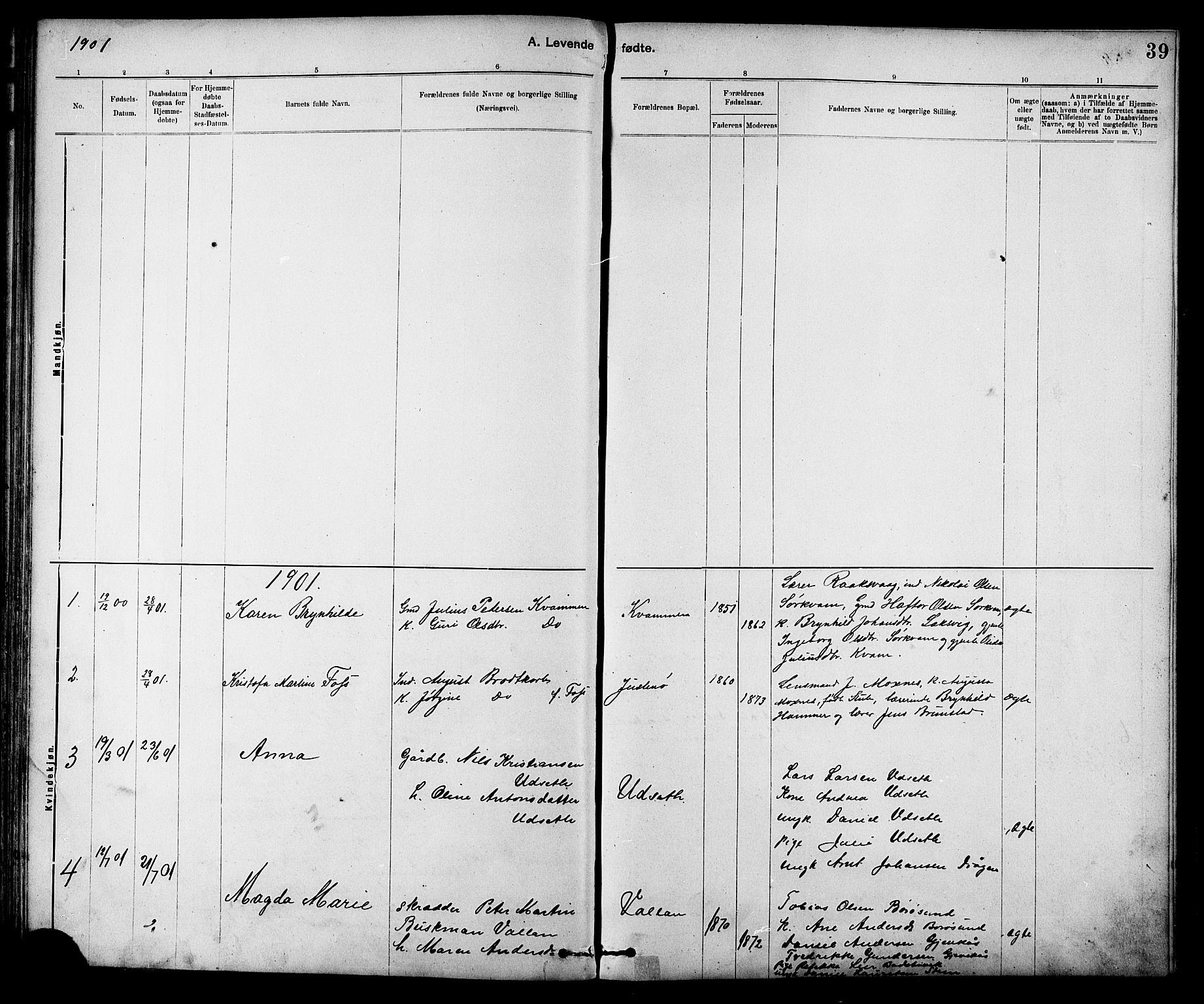 SAT, Ministerialprotokoller, klokkerbøker og fødselsregistre - Sør-Trøndelag, 639/L0573: Klokkerbok nr. 639C01, 1890-1905, s. 39