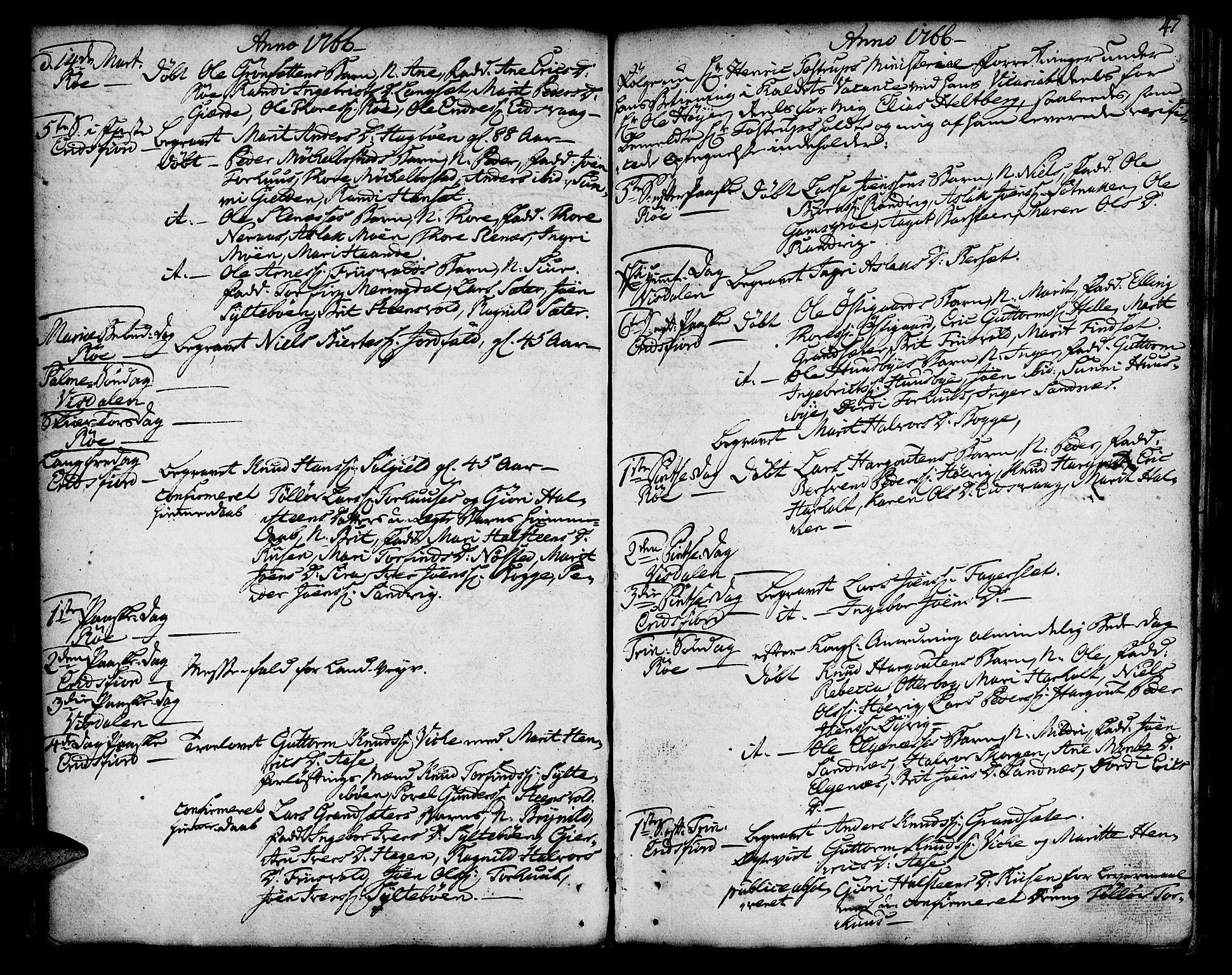 SAT, Ministerialprotokoller, klokkerbøker og fødselsregistre - Møre og Romsdal, 551/L0621: Ministerialbok nr. 551A01, 1757-1803, s. 47