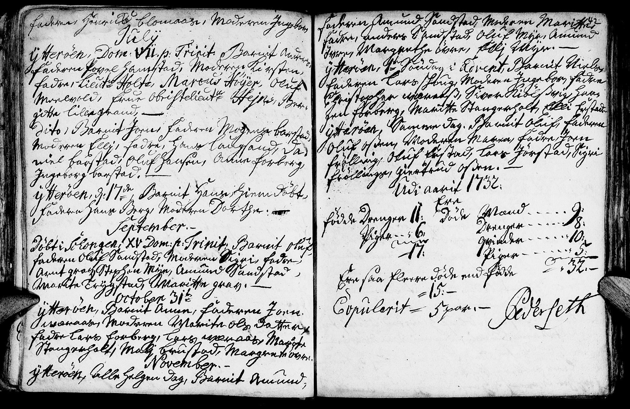 SAT, Ministerialprotokoller, klokkerbøker og fødselsregistre - Nord-Trøndelag, 722/L0215: Ministerialbok nr. 722A02, 1718-1755, s. 42