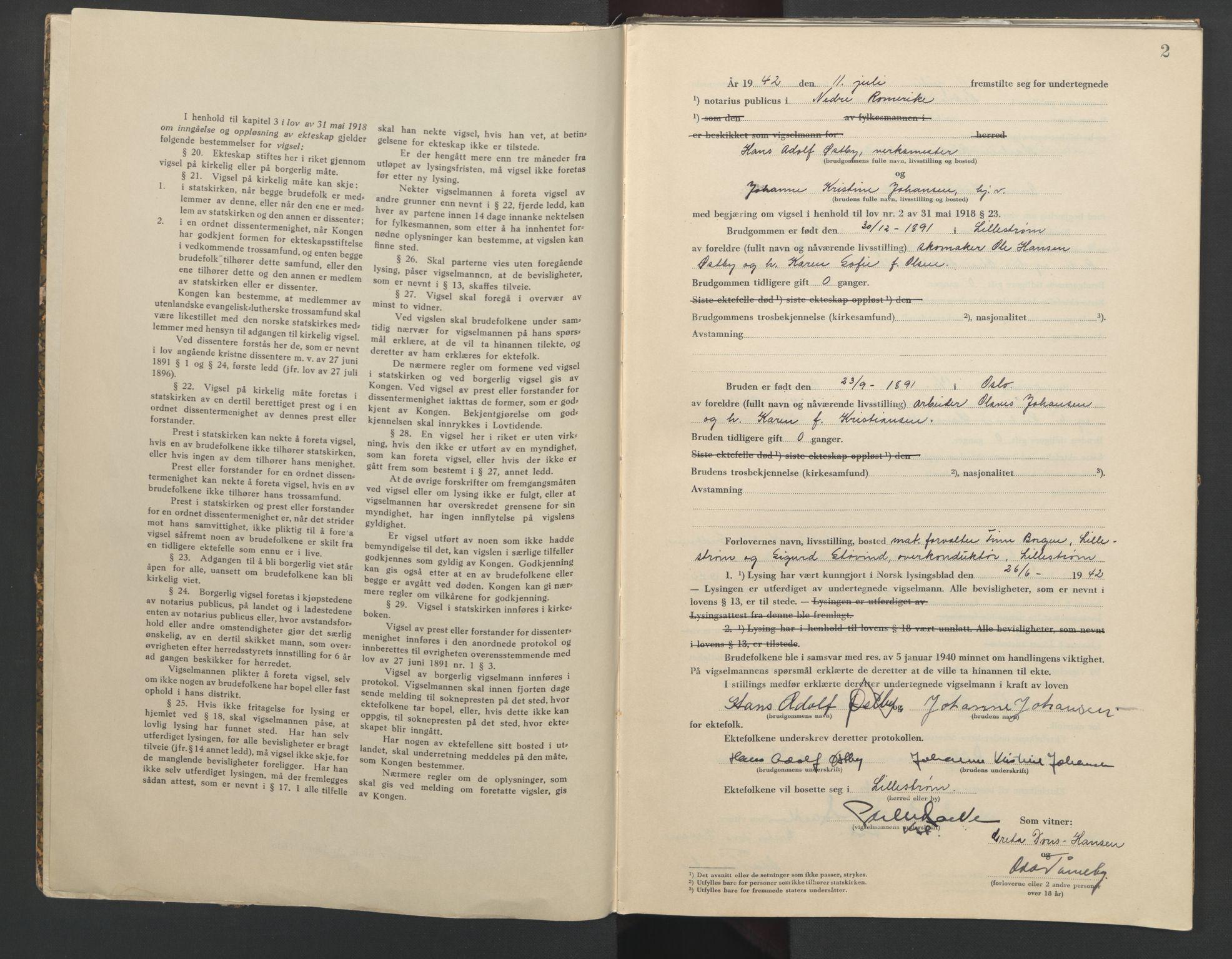 SAO, Nedre Romerike sorenskriveri, L/Lb/L0003: Vigselsbok - borgerlige vielser, 1942-1943, s. 2