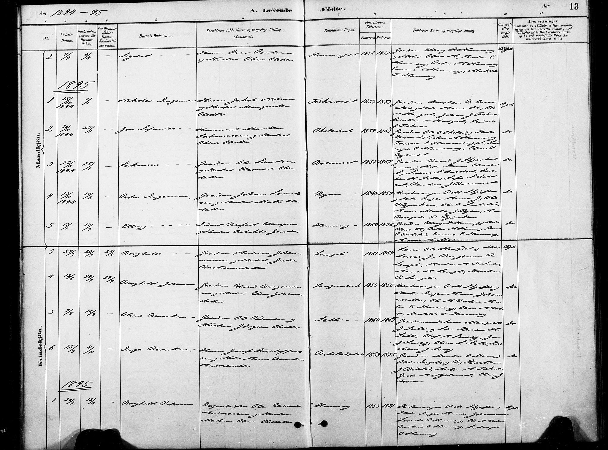 SAT, Ministerialprotokoller, klokkerbøker og fødselsregistre - Nord-Trøndelag, 738/L0364: Ministerialbok nr. 738A01, 1884-1902, s. 13